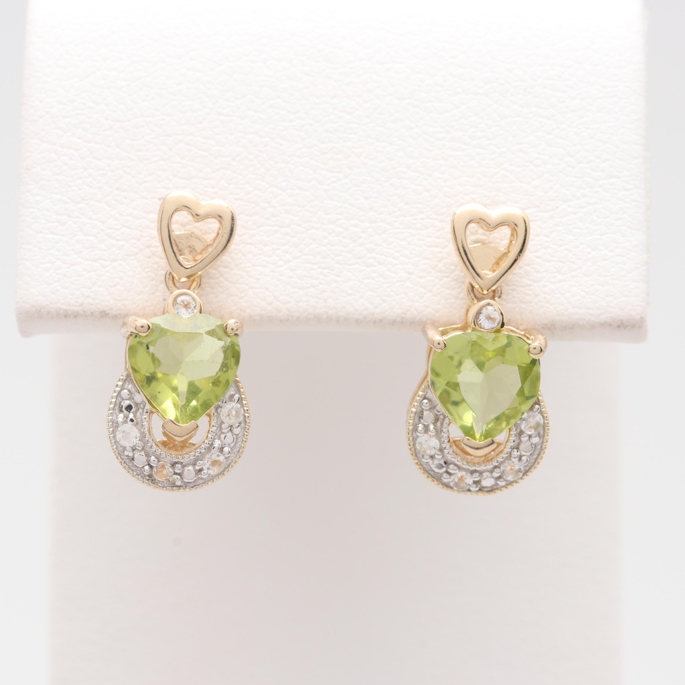 Sterling Silver Peridot and White Topaz Heart Earrings