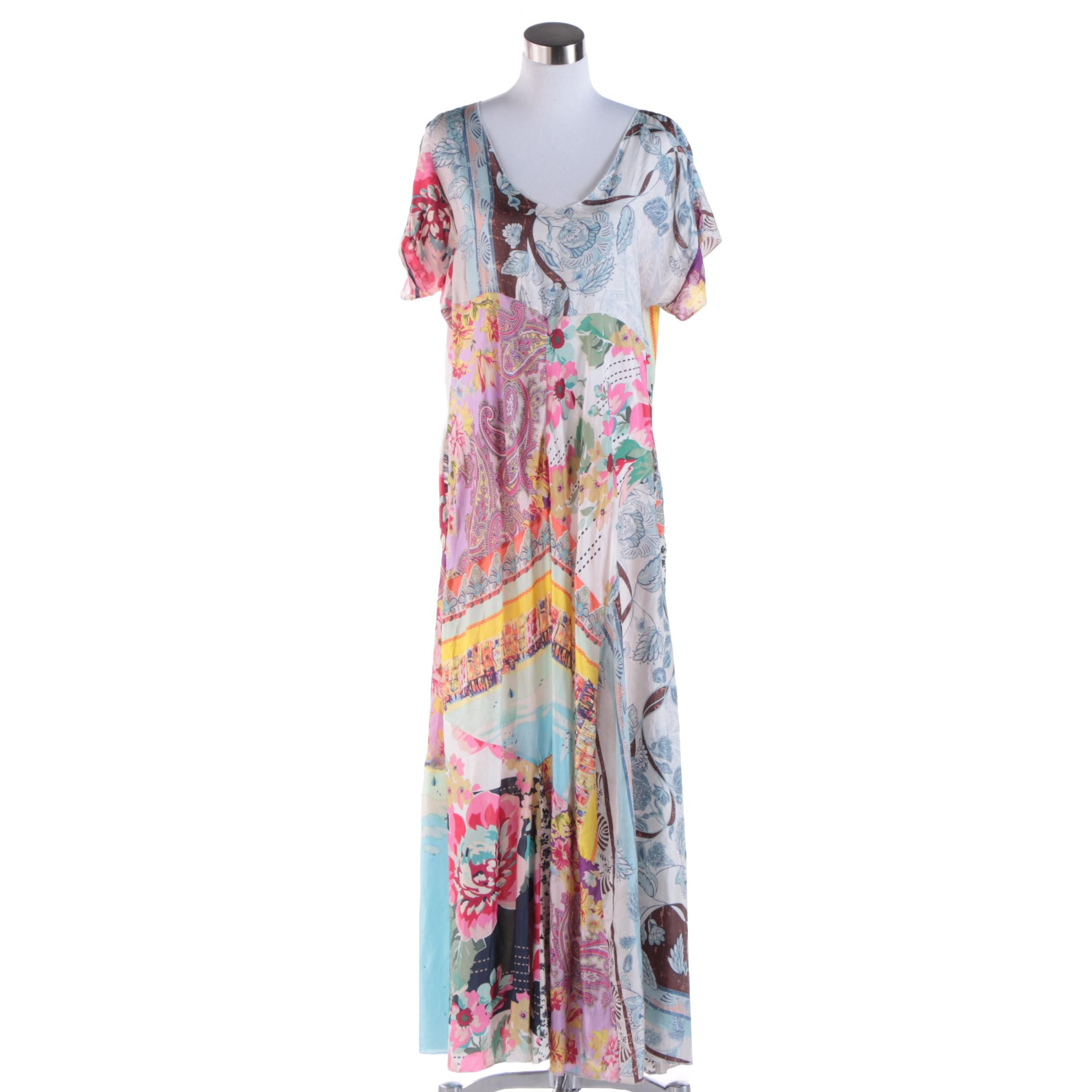 Women's Johnny Was Silk Floral Print Maxi Dress