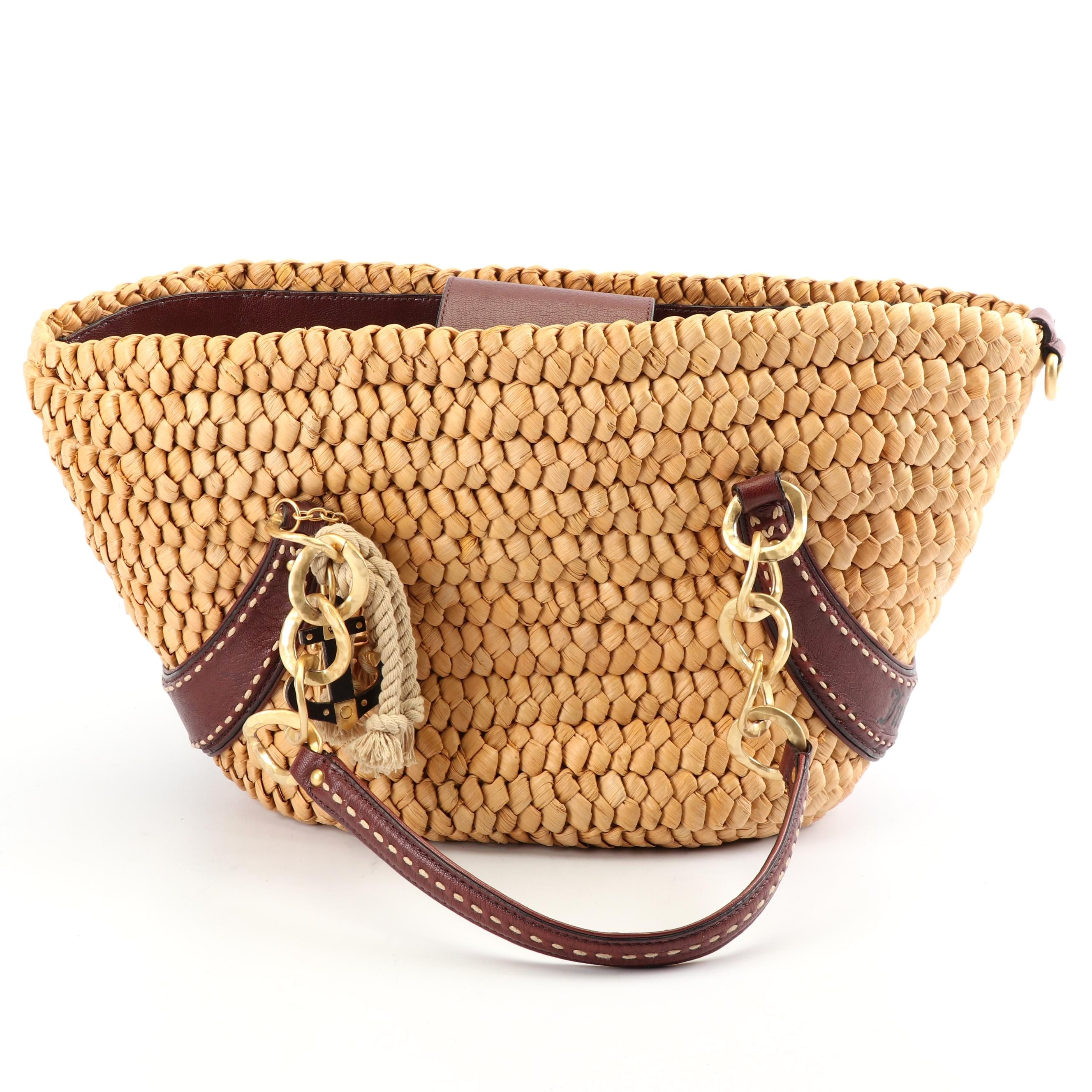 Juicy Couture Woven Corn Husk Beach Tote