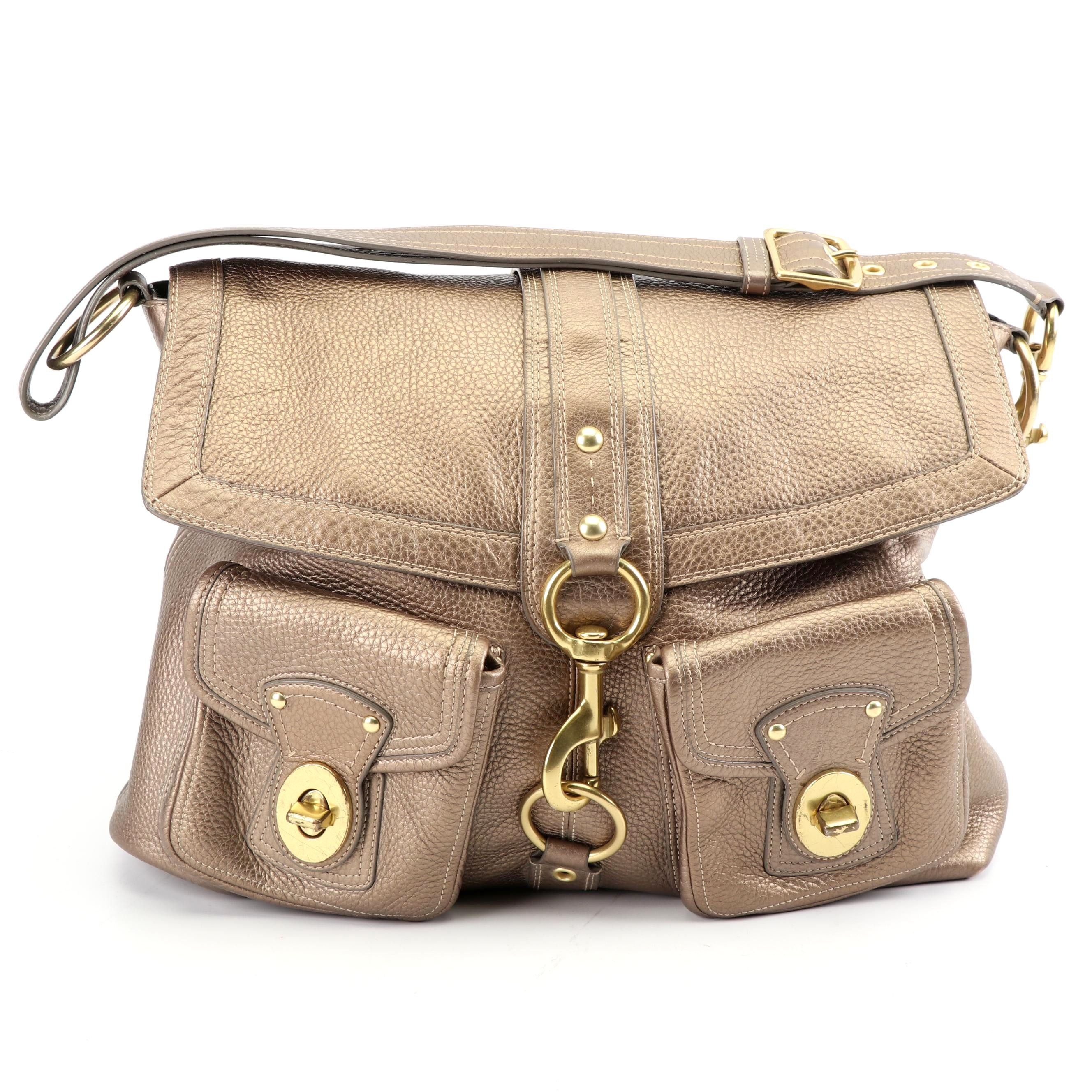 Coach Gold Tone Pebbled Leather Shoulder Bag