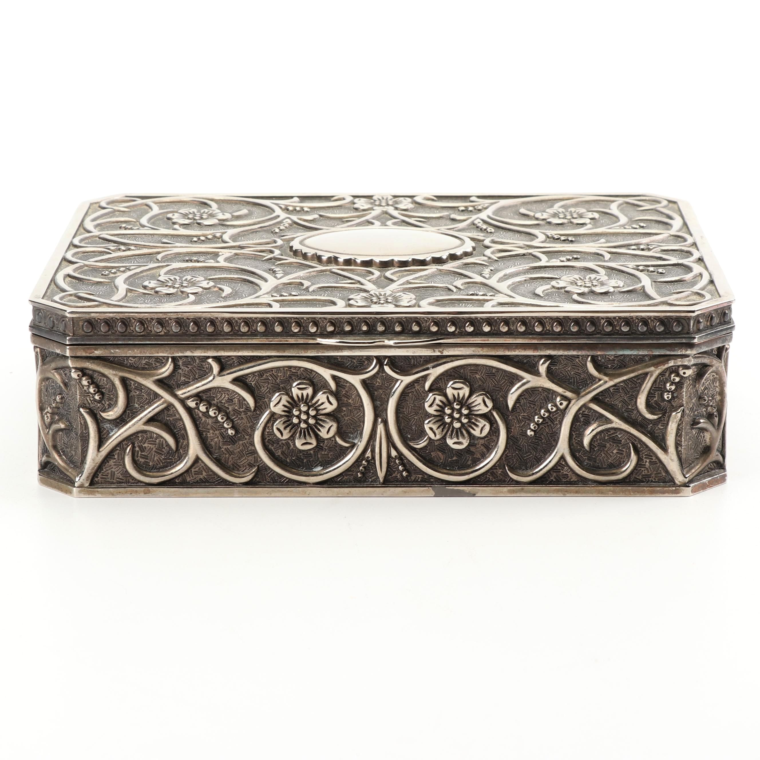 Godinger Silver Art Co. Silver Plate Floral Motif Jewelry Box with Velvet Lining
