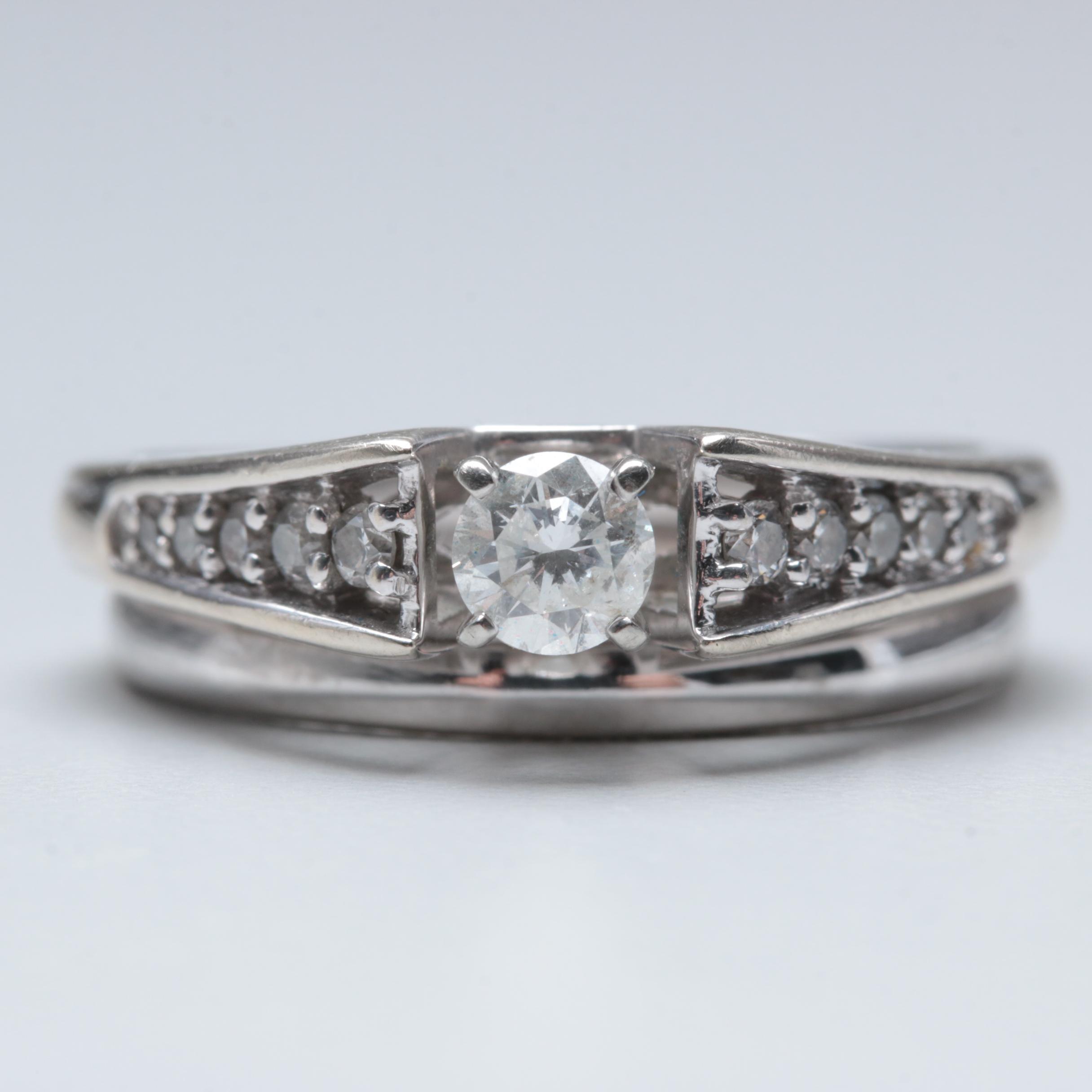 14K White Gold Diamond Soldered Ring Set
