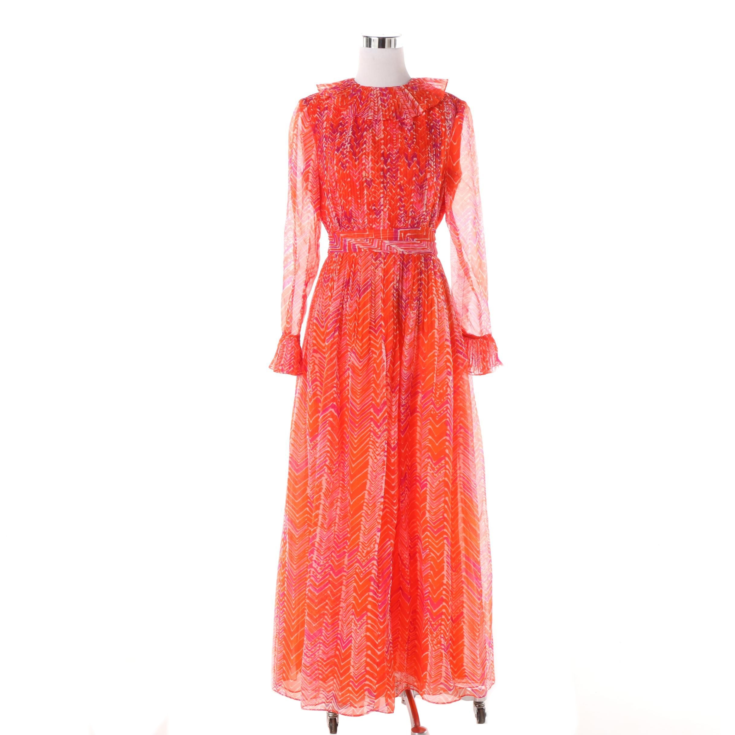 Women's Vintage Mollie Parnis of New York Boutique Maxi Dress