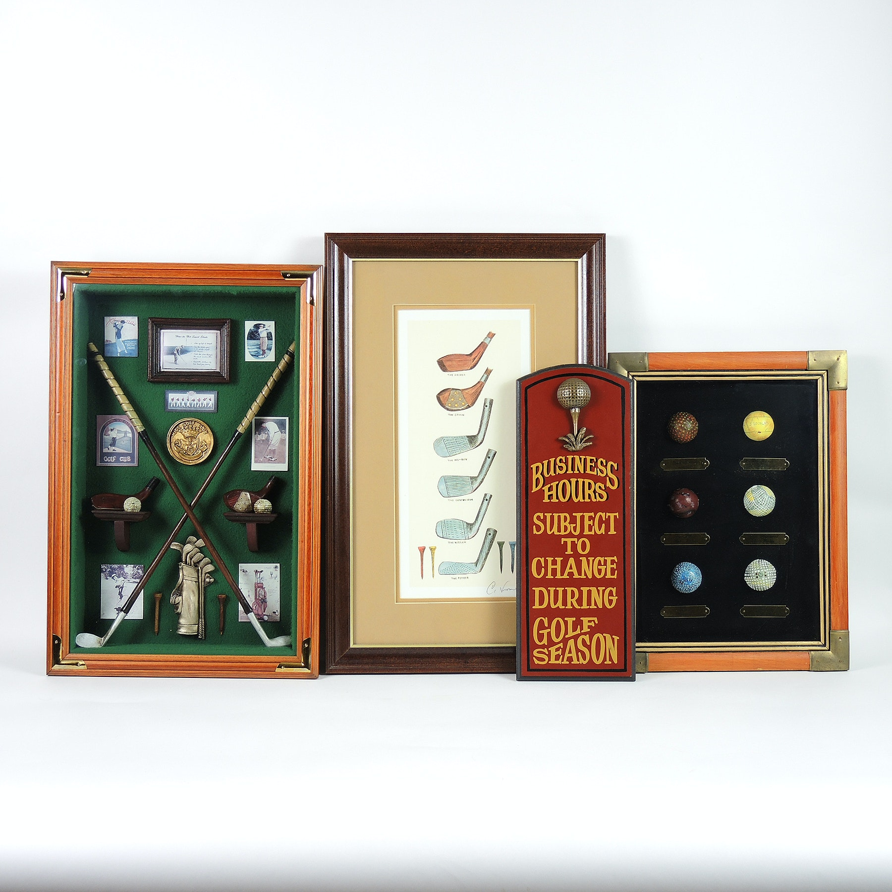 Golf Memorabilia Shadow Boxes and Offset Lithograph