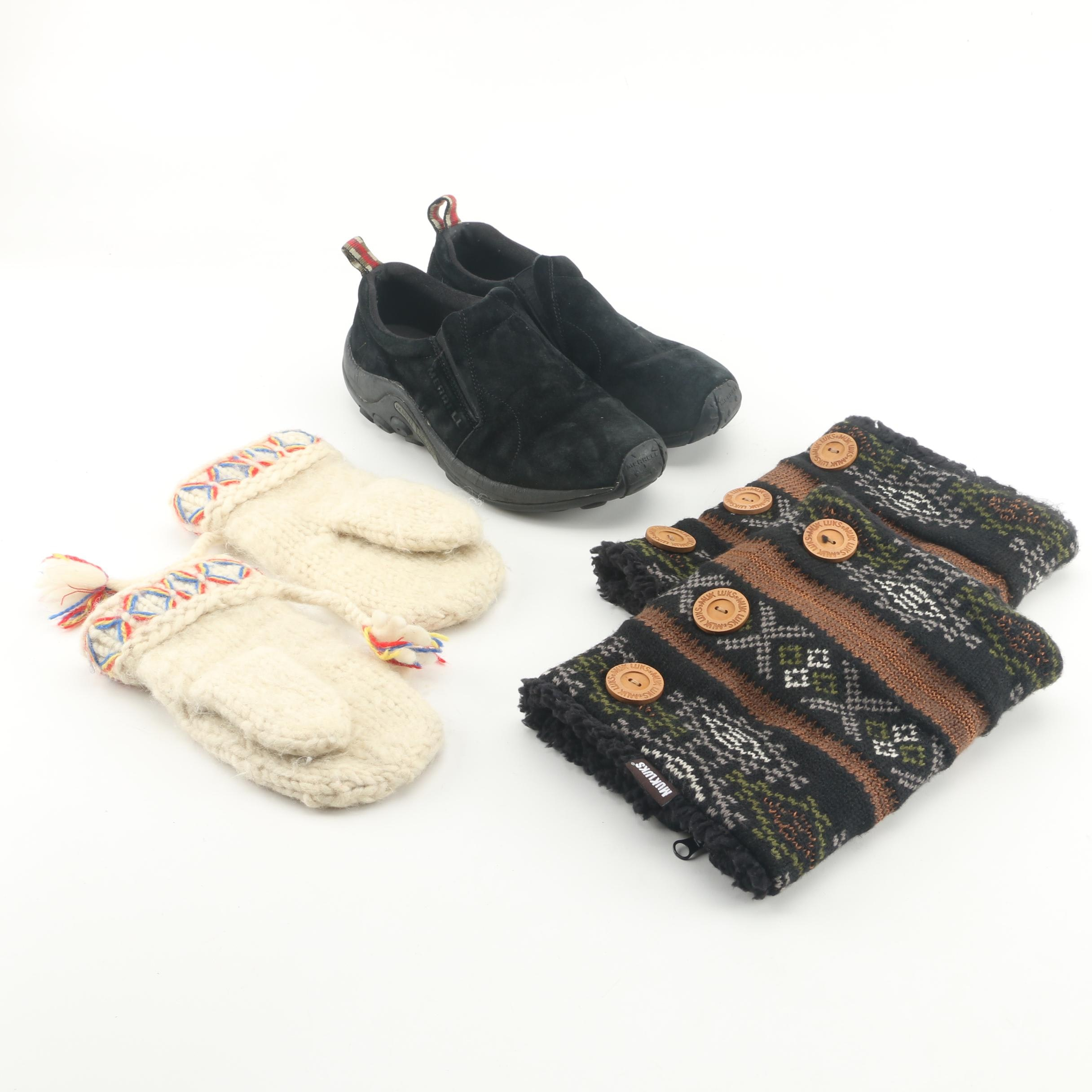 Merrell Jungle Mocs with Muk Luk Boot Covers and Knit Wool Mittens