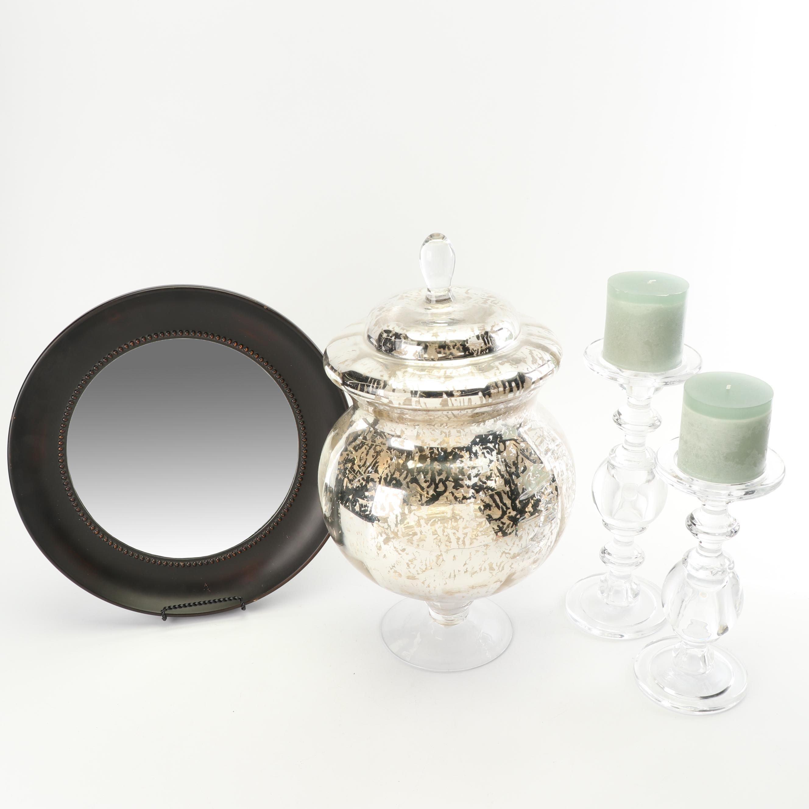 Pier 1 Mercury Glass Jar with Wall Mirror and Pillar Candlesticks