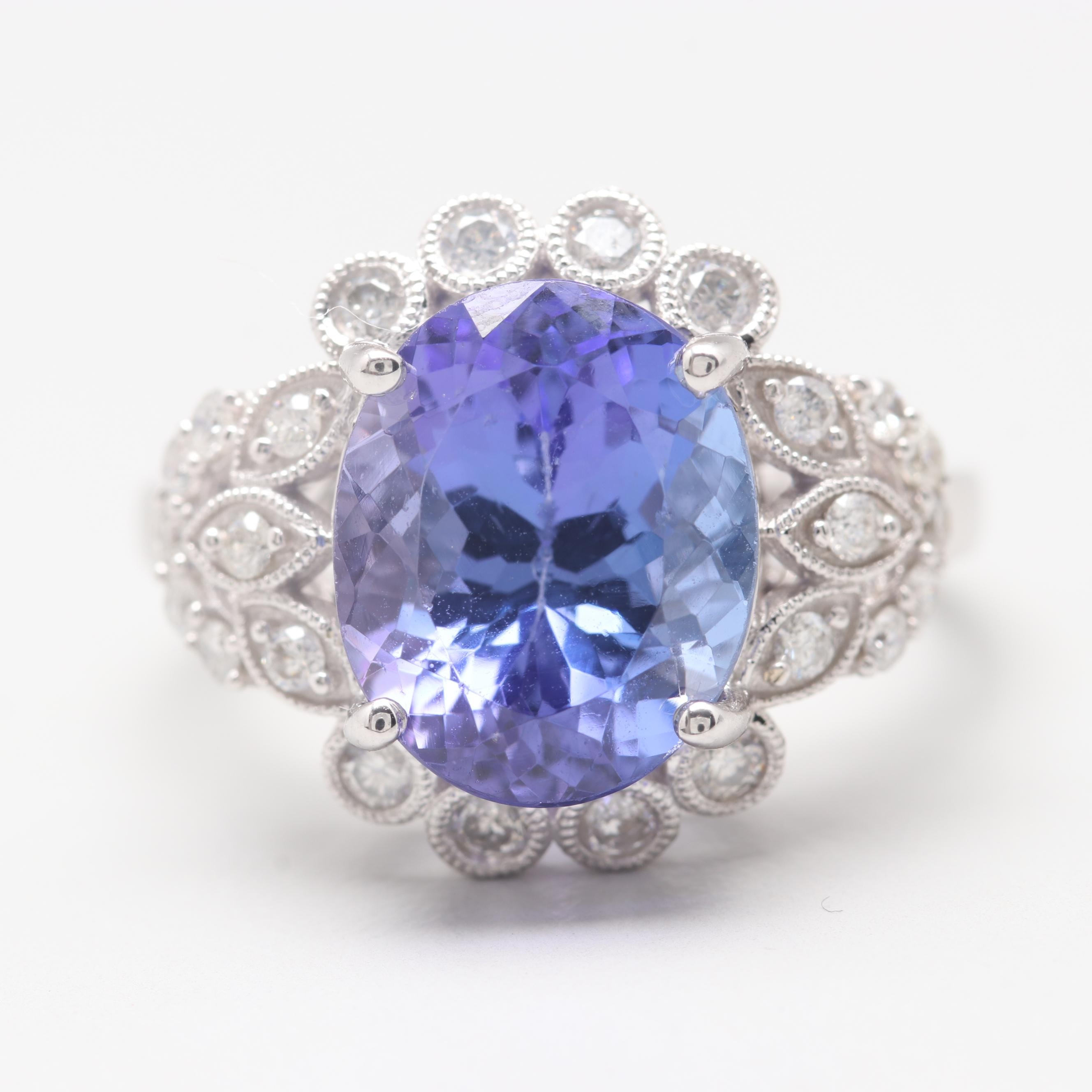 14K White Gold 5.35 CT Tanzanite and Diamond Ring