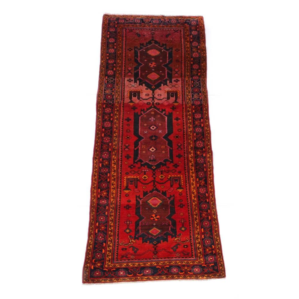 Vintage Hand-Knotted Persian Heriz Carpet Runner