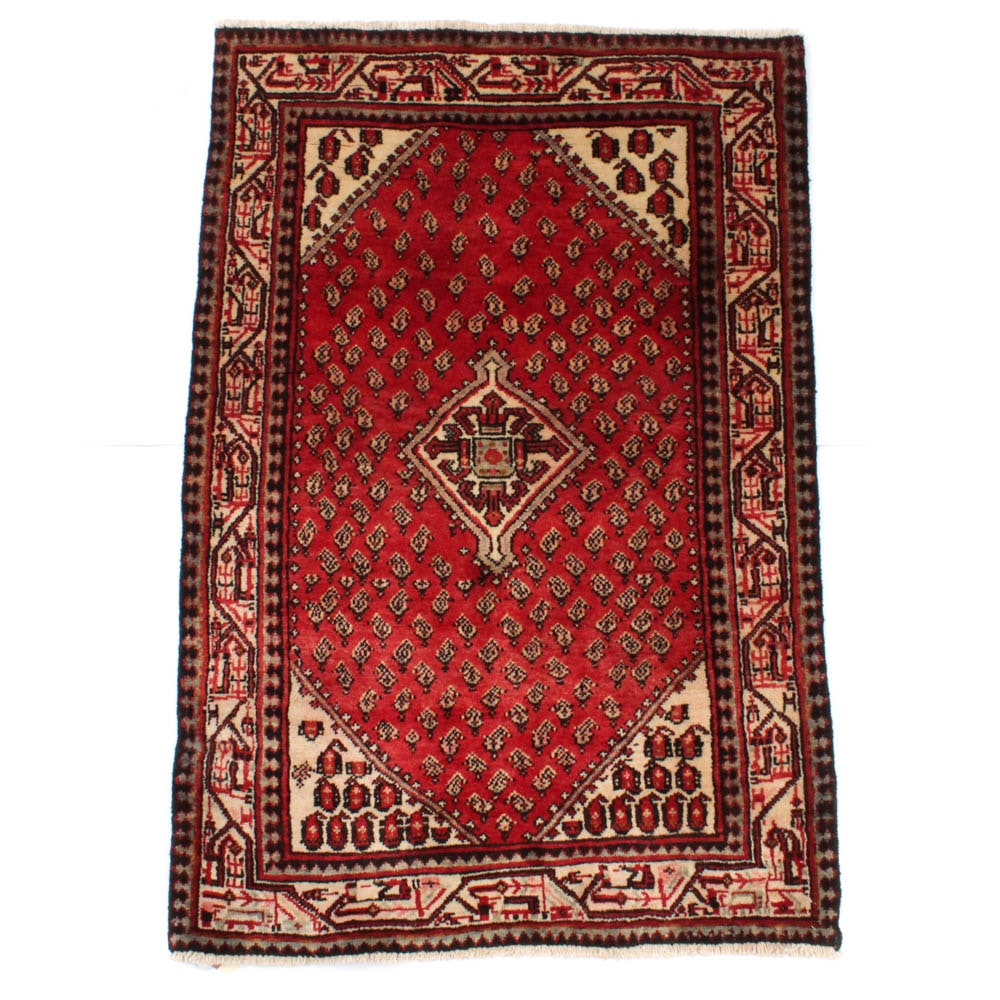 Hand-Knotted Vintage Persian Boteh Sarouk Rug