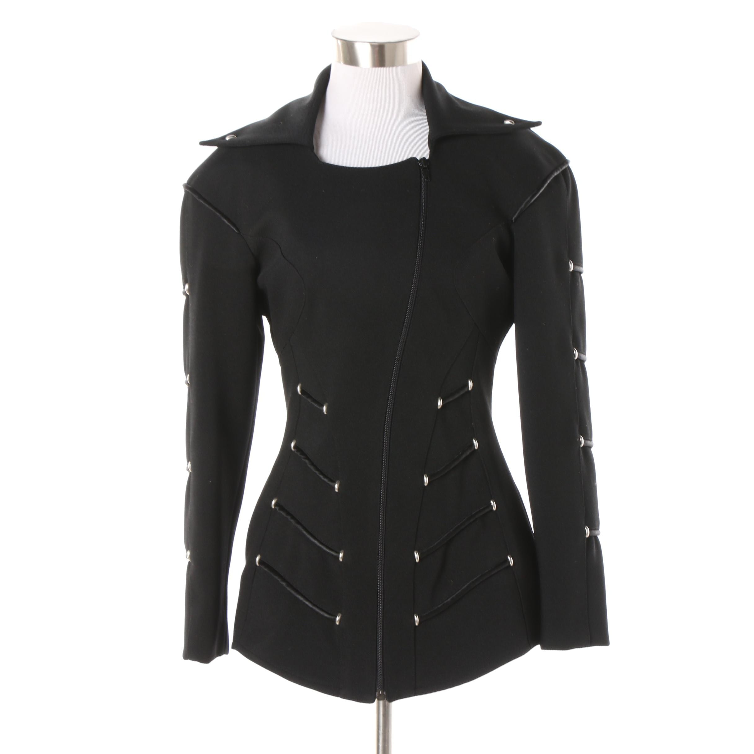 La Milliardaire of Paris Asymmetric Zip Black Jacket