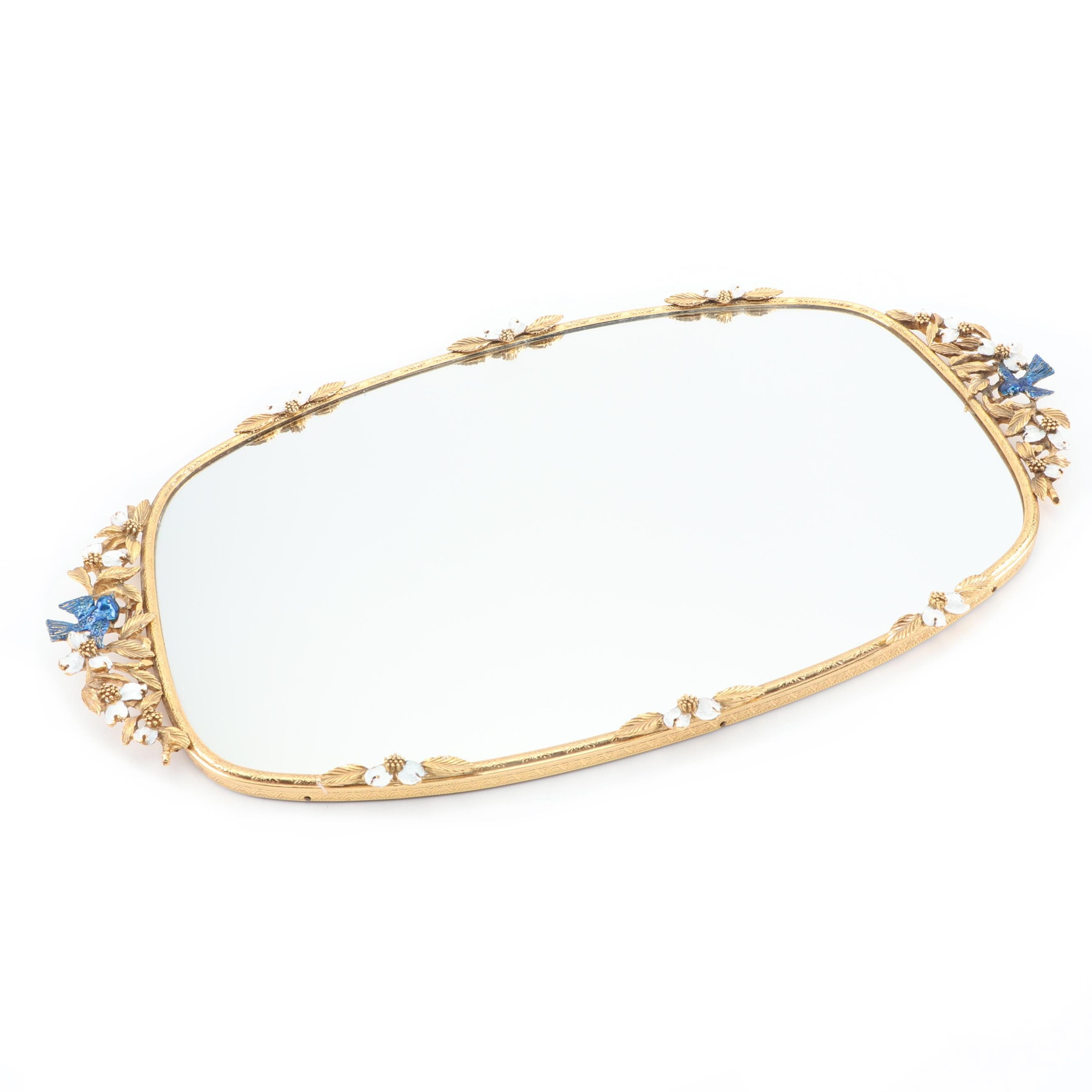 Vintage Gold-Toned Foliate Motif Vanity Mirror with Blue Bird Accents