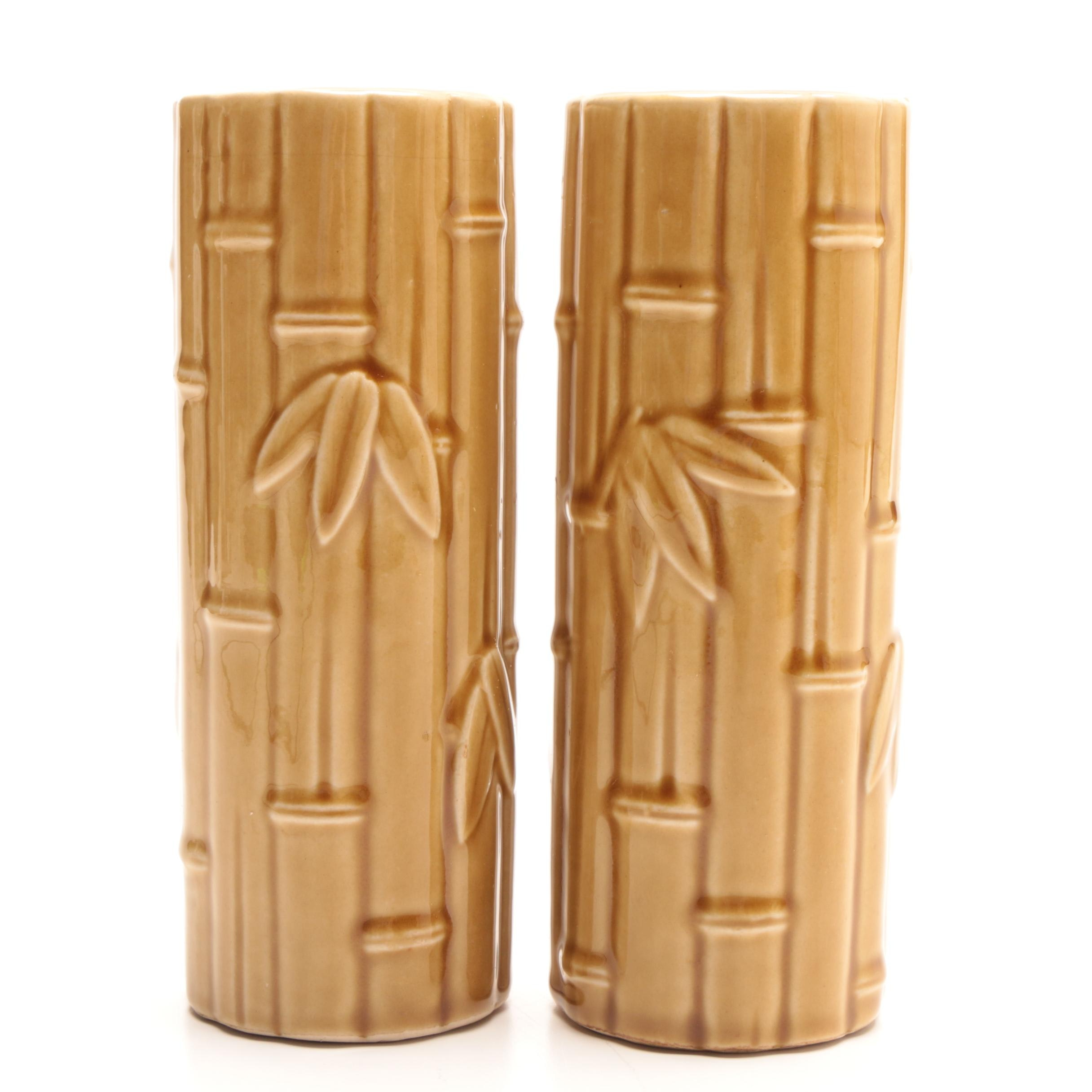 """Pair of """"Orchids of Hawaii"""" Molded Ceramic Bamboo Vases"""