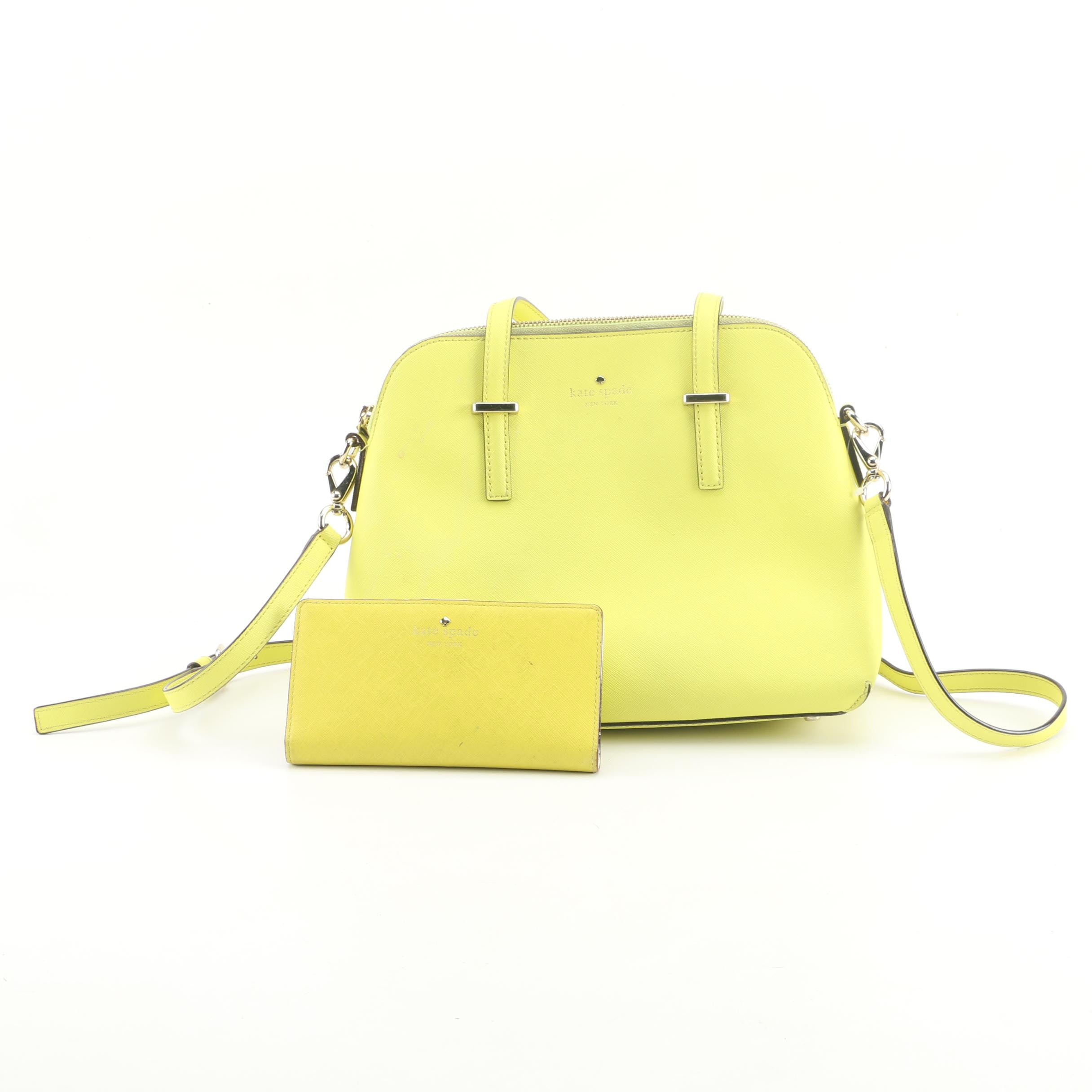 Kate Spade New York Cedar Street Maise Yellow Leather Satchel and Wallet