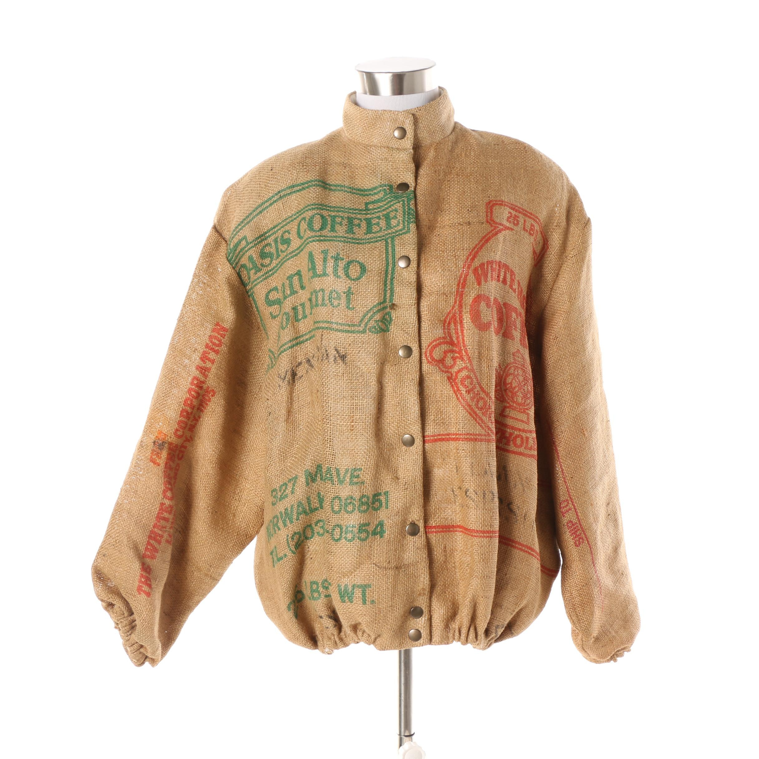 Women's Vintage St. Martin by Jeanette Coffee Logo Burlap Jacket
