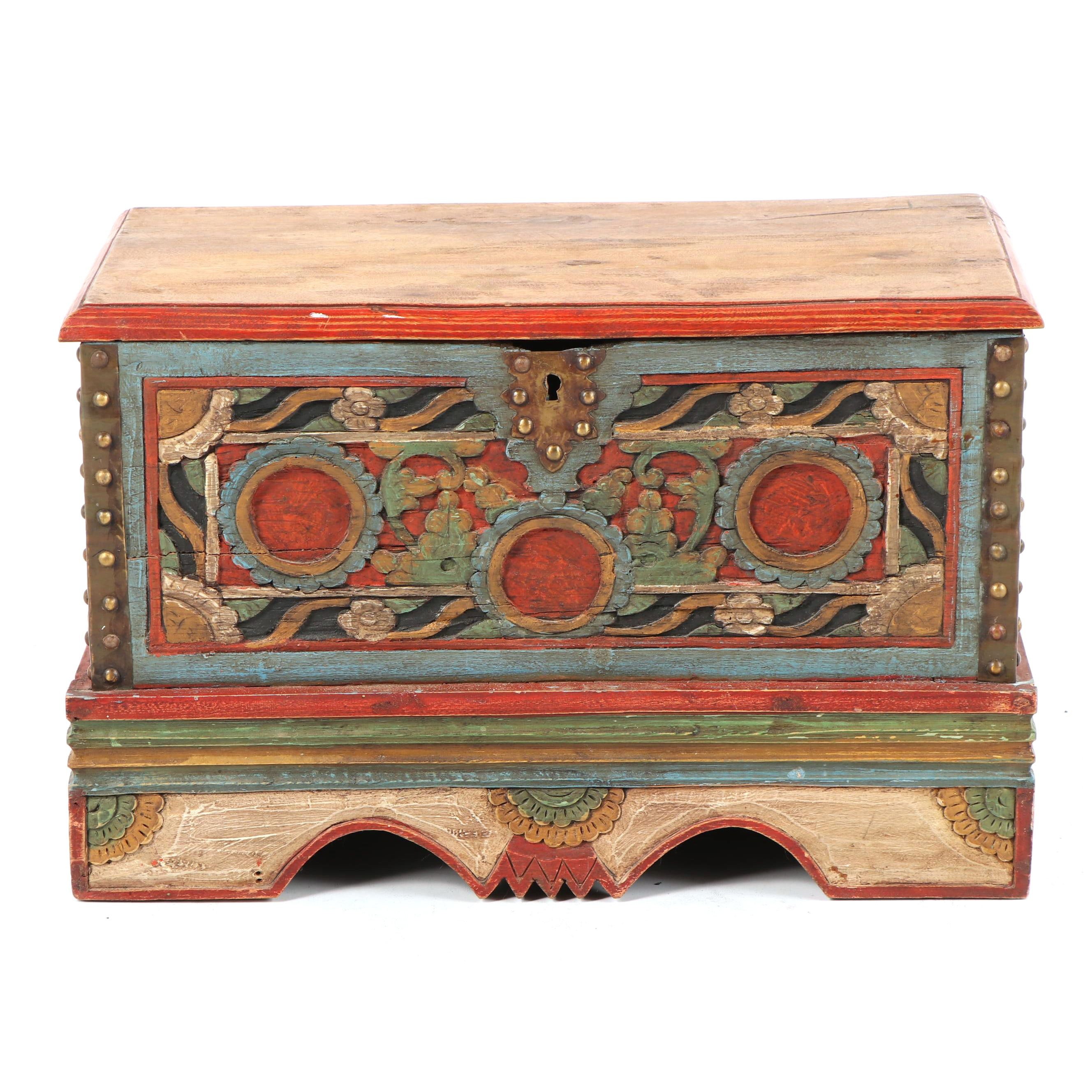 Vintage Indonesian Style Carved and Painted Wood Chest