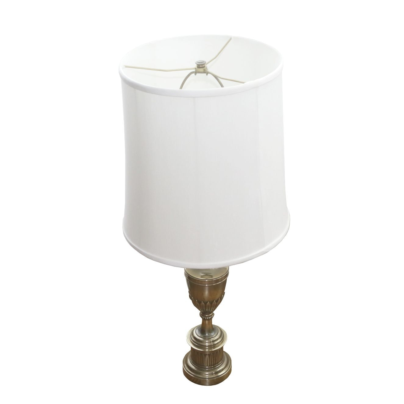 Brass Torch Stiffel Style Table Lamp with Stiffel Fabric Shade