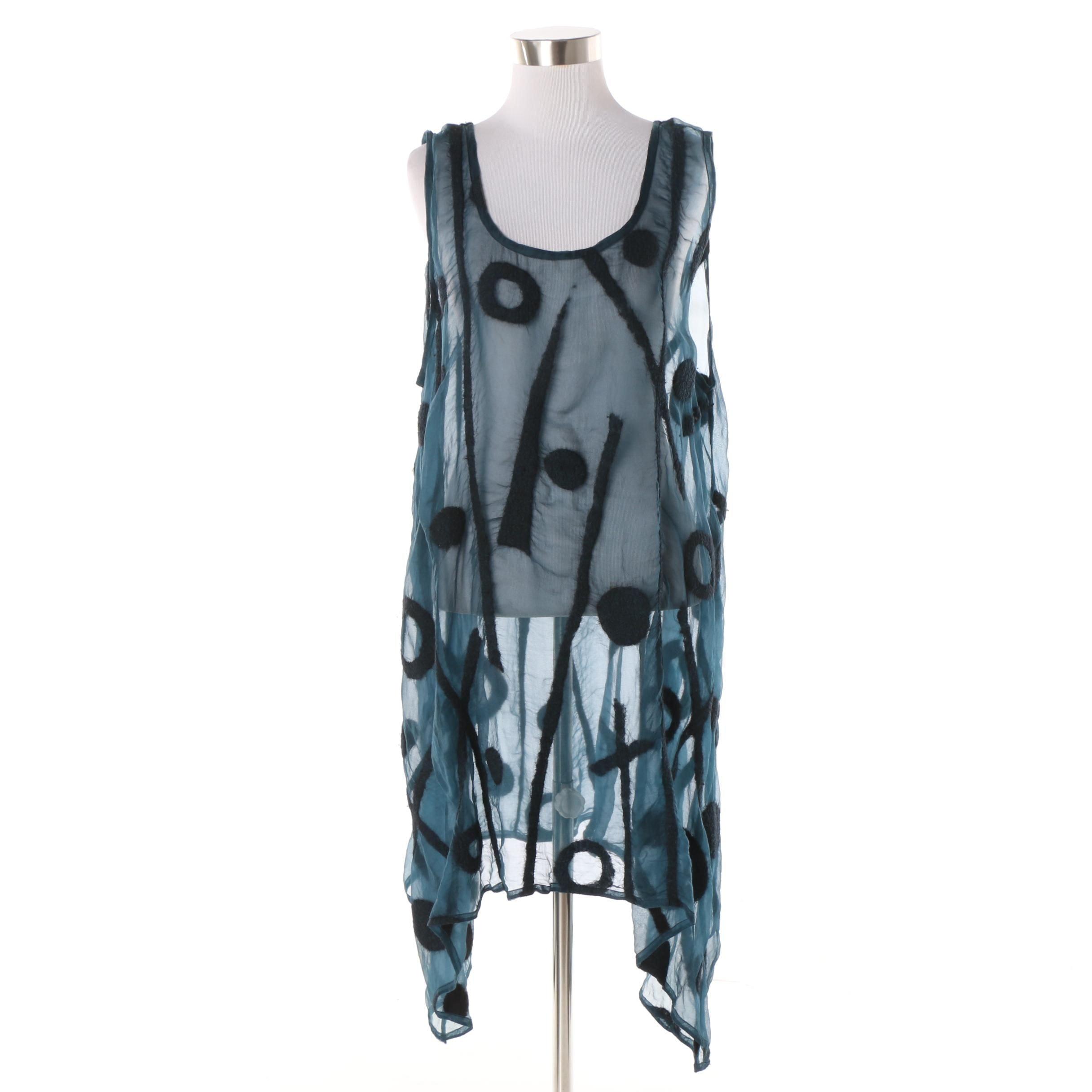 Women's Miriam Carter Feltmaker Sheer Blue Silk Blend Sleeveless Tunic