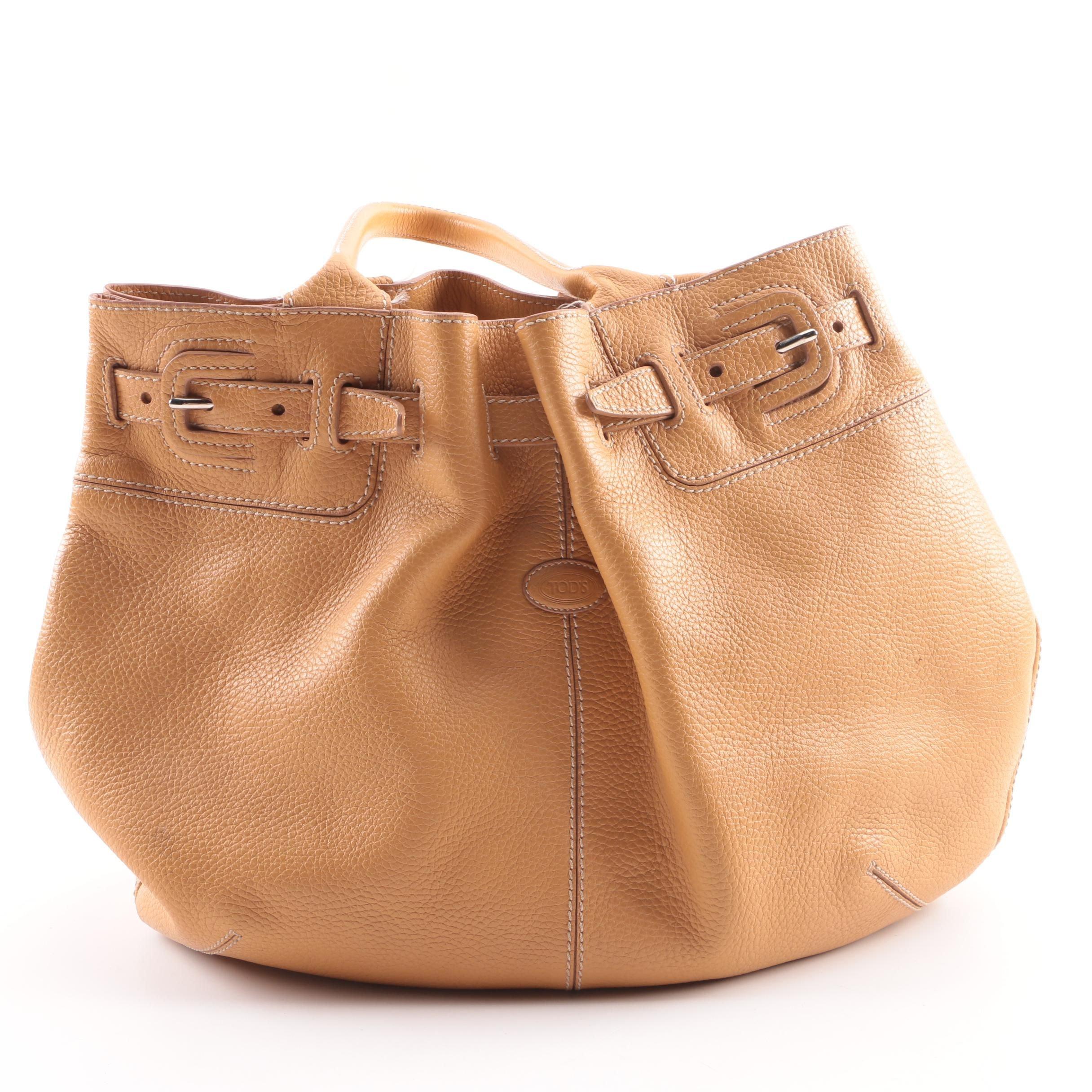 Tod's Tan Pebbled Leather Shoulder Bag