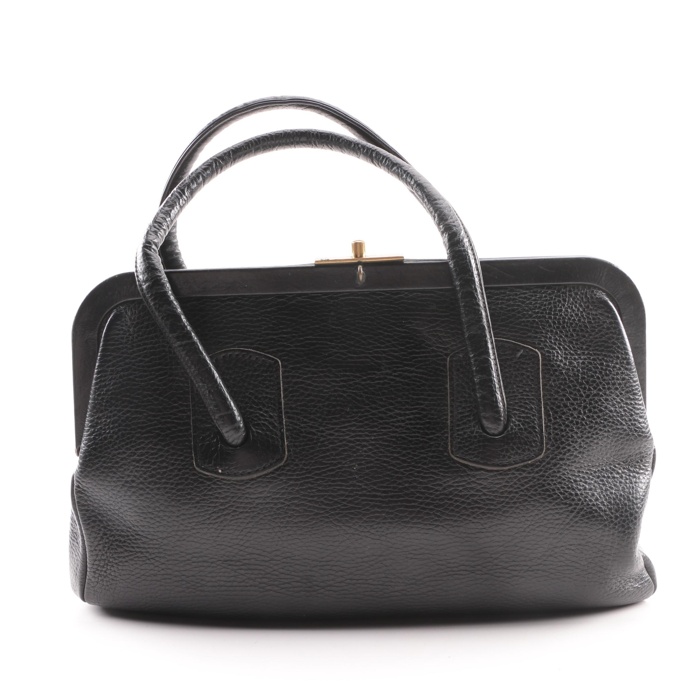 Vintage Saber Black Pebbled Leather Handbag
