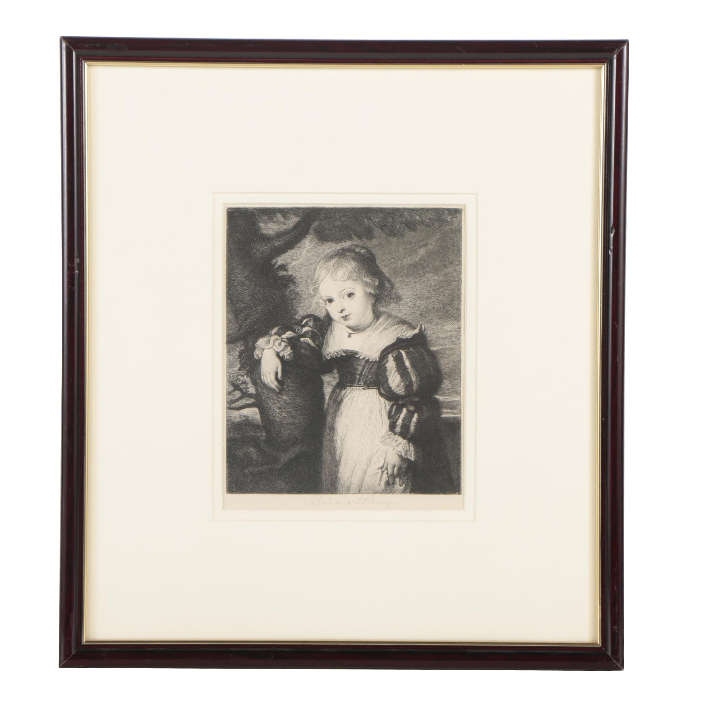 """Leopold Flameng Etching after Sir Peter Paul Rubens """"Portrait of a Girl"""""""