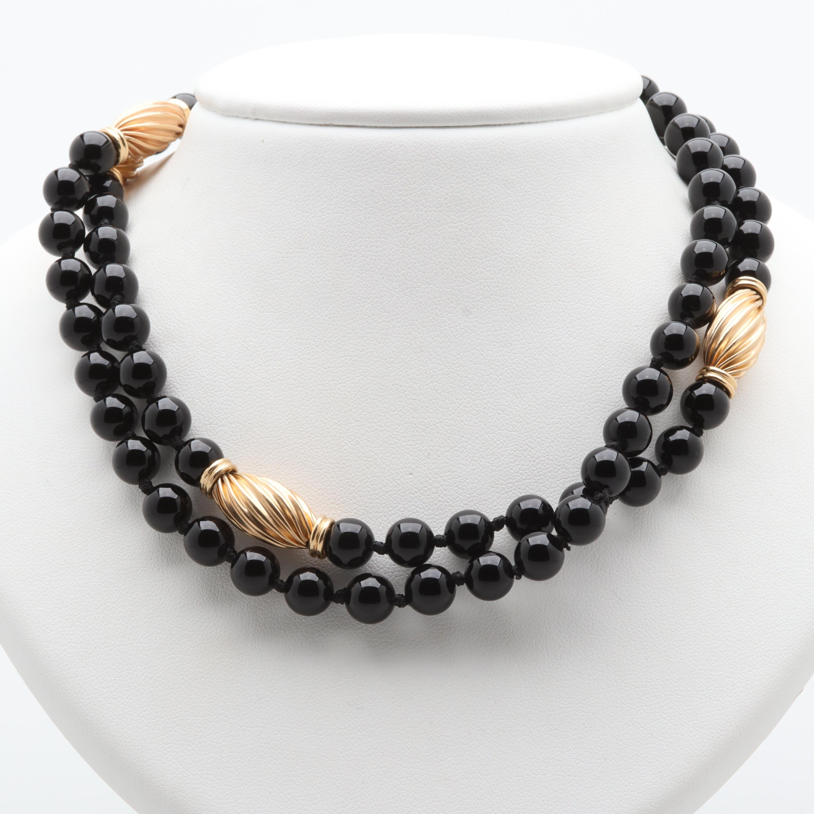 14K Yellow Gold Black Onyx Necklace