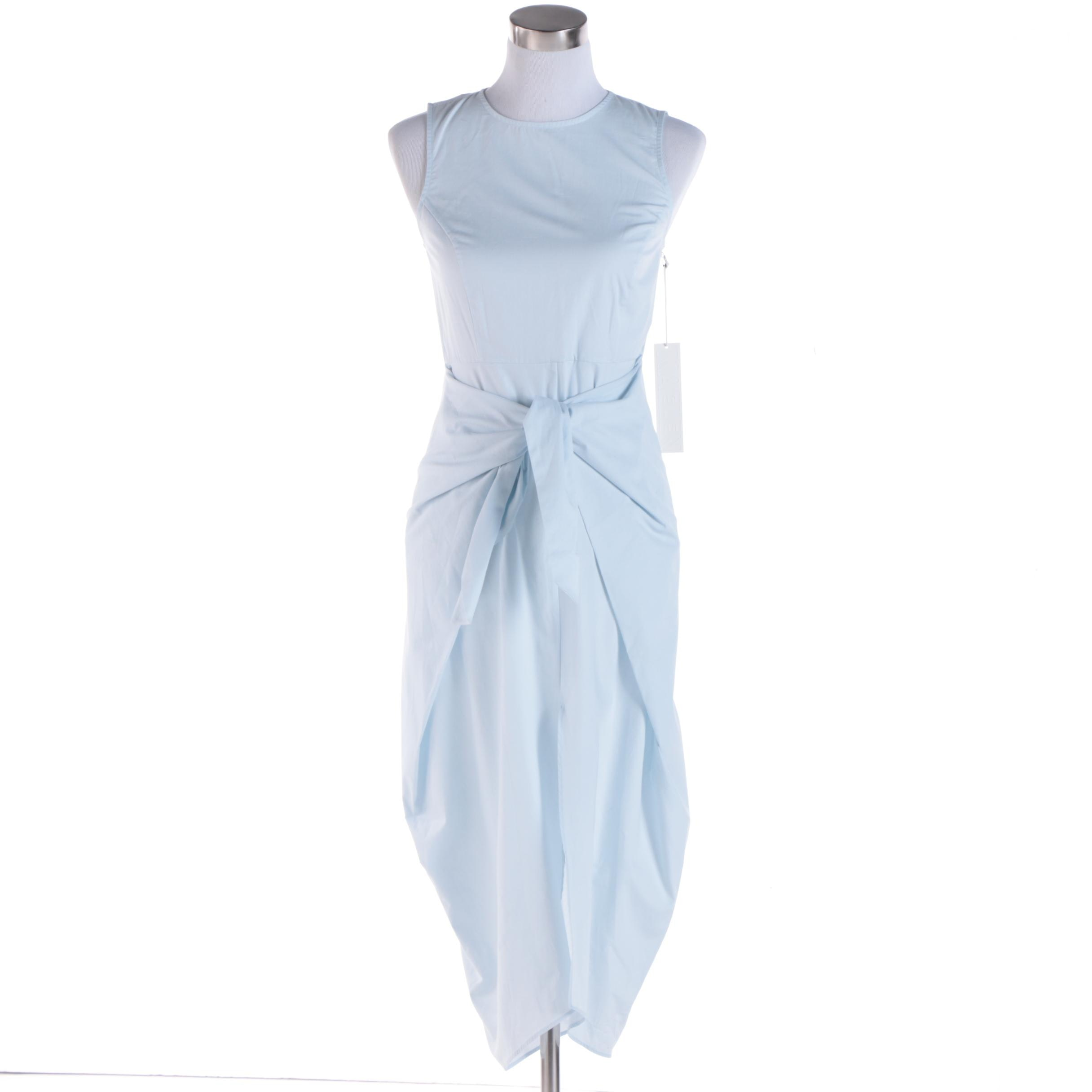 Kaelen Light Blue Tie-Front Dress