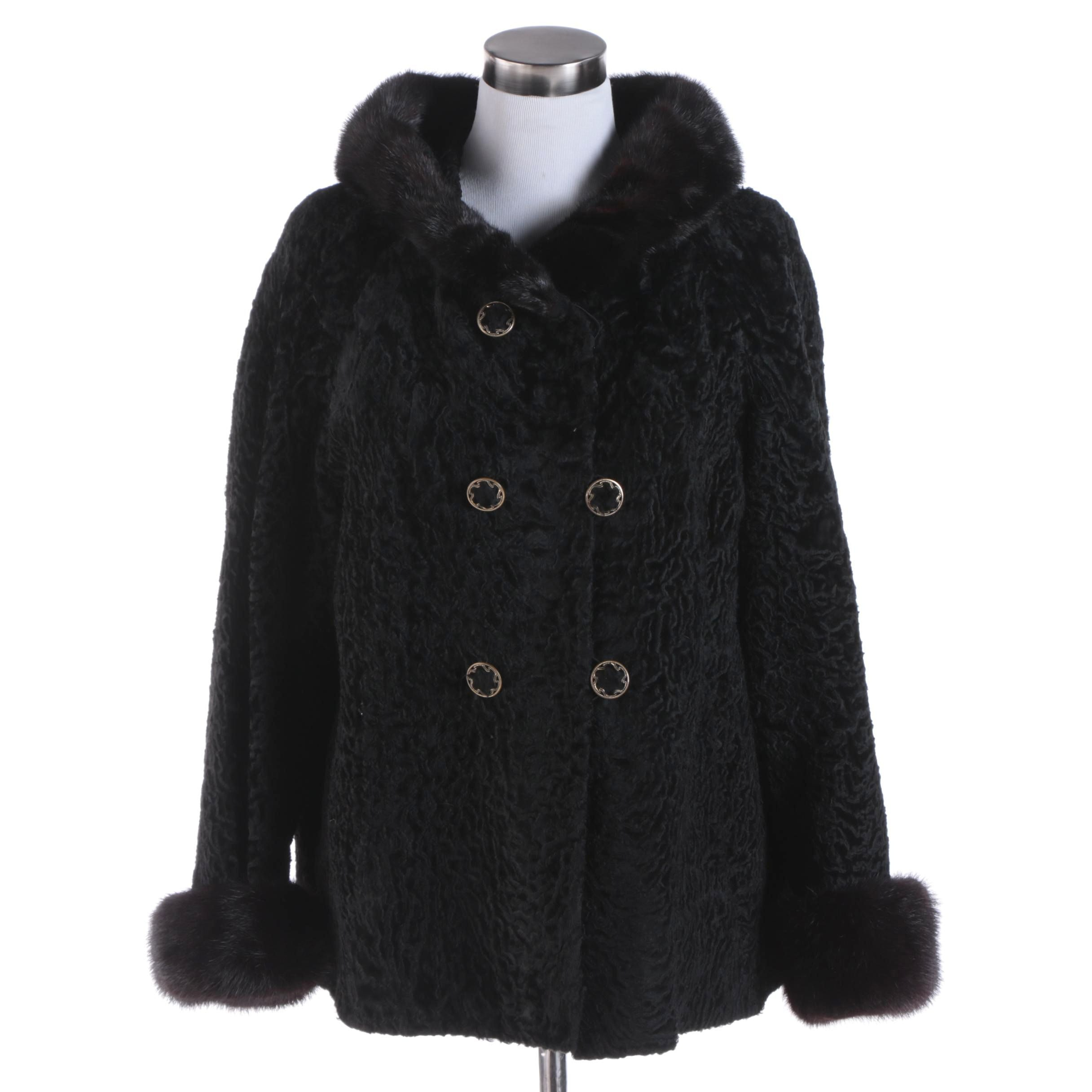Women's Vintage Black Persian Lamb Fur Double-Breasted Jacket with Mink Fur Trim