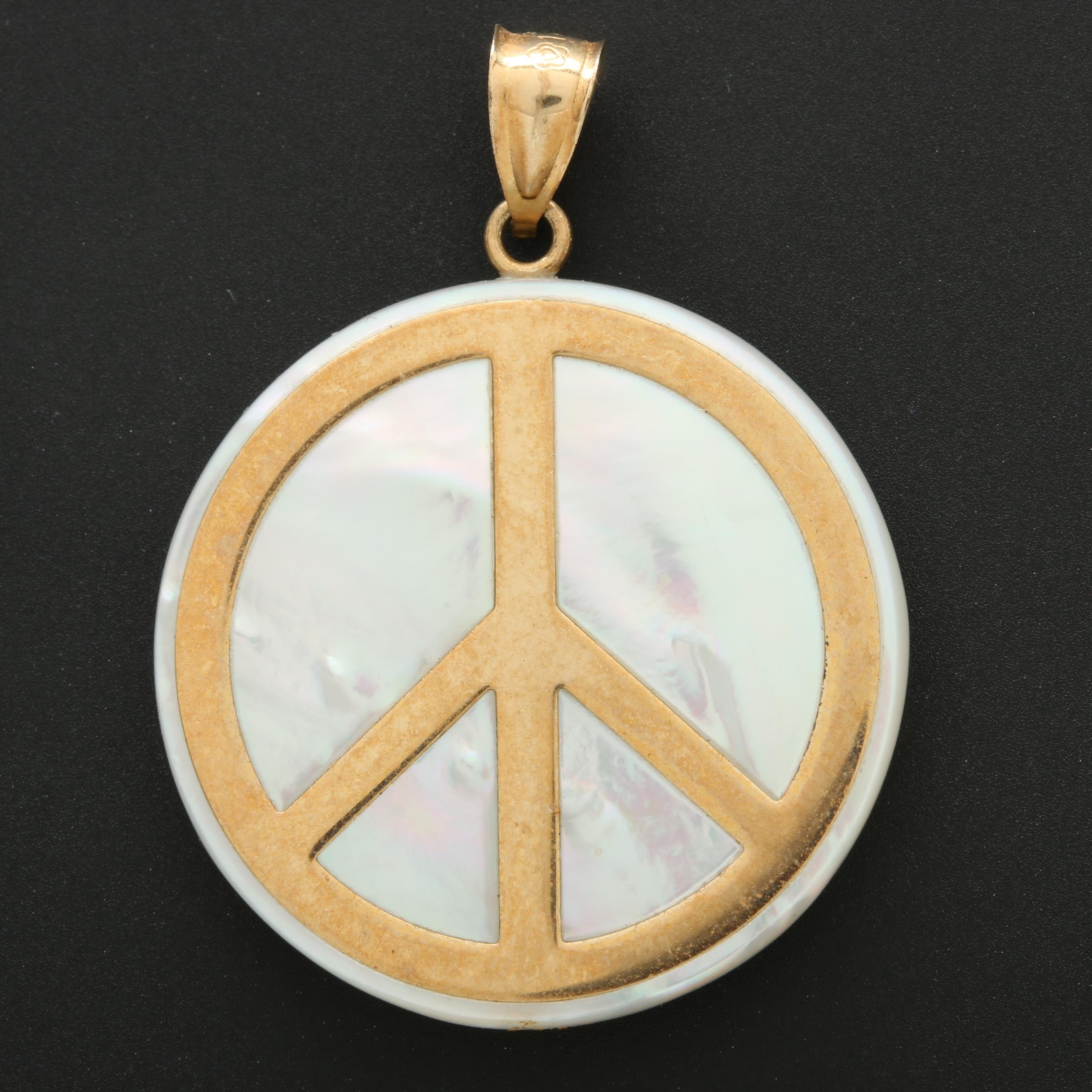 14K Yellow Gold Mother of Pearl Peace Sign Pendant