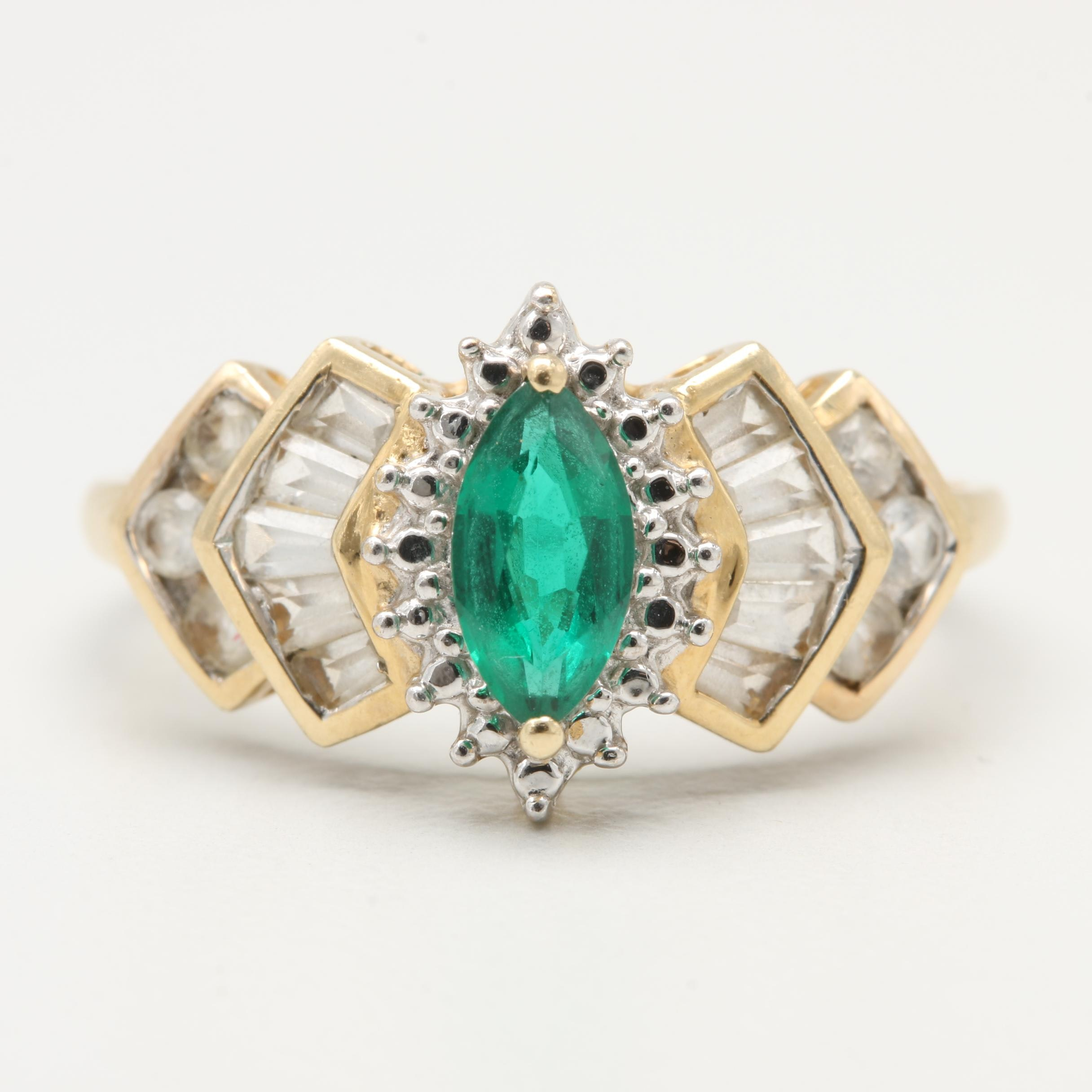 10K Yellow Gold Synthetic Emerald and Synthetic White Sapphire Ring