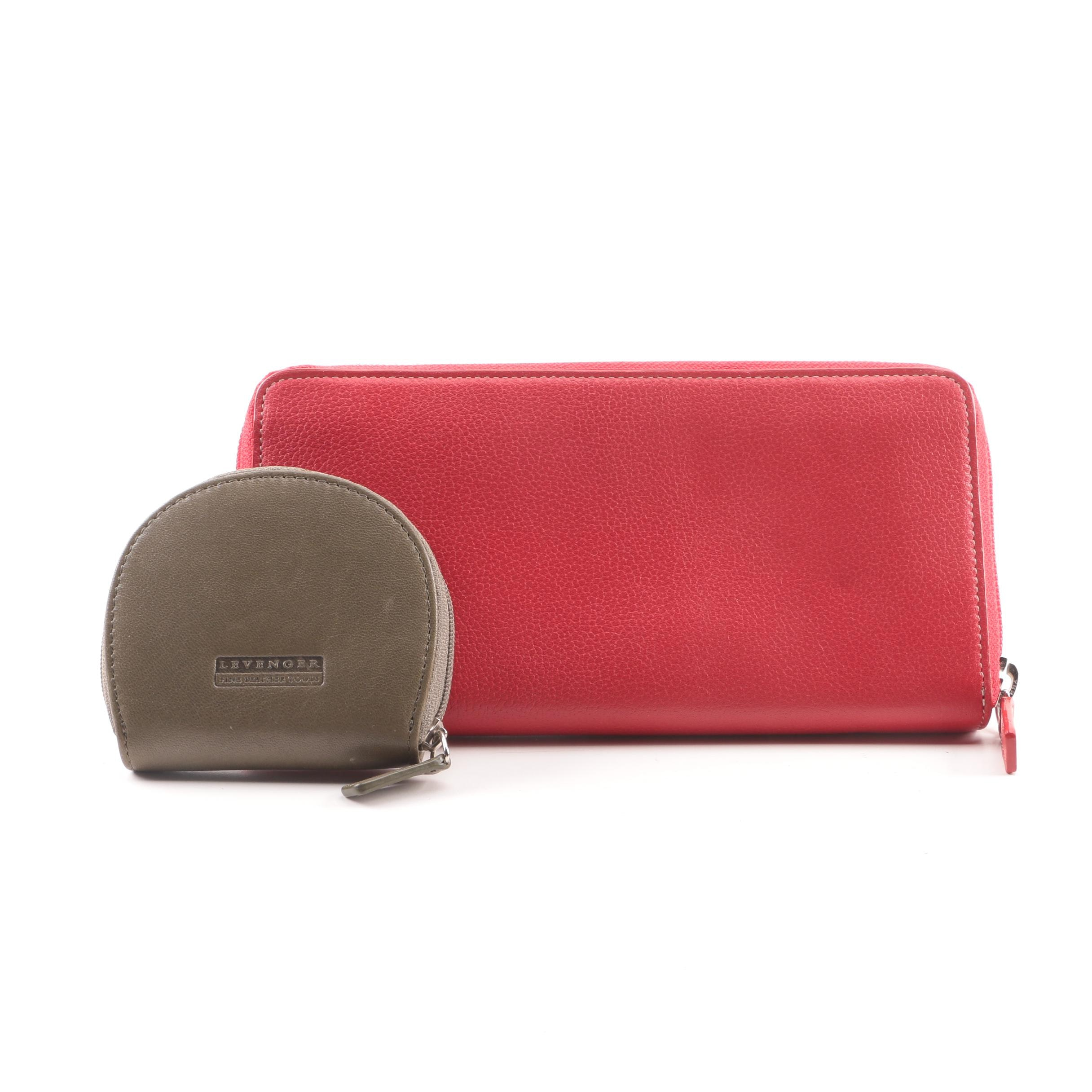 Levenger Leather Zipper Continental Wallet and Coin Purse