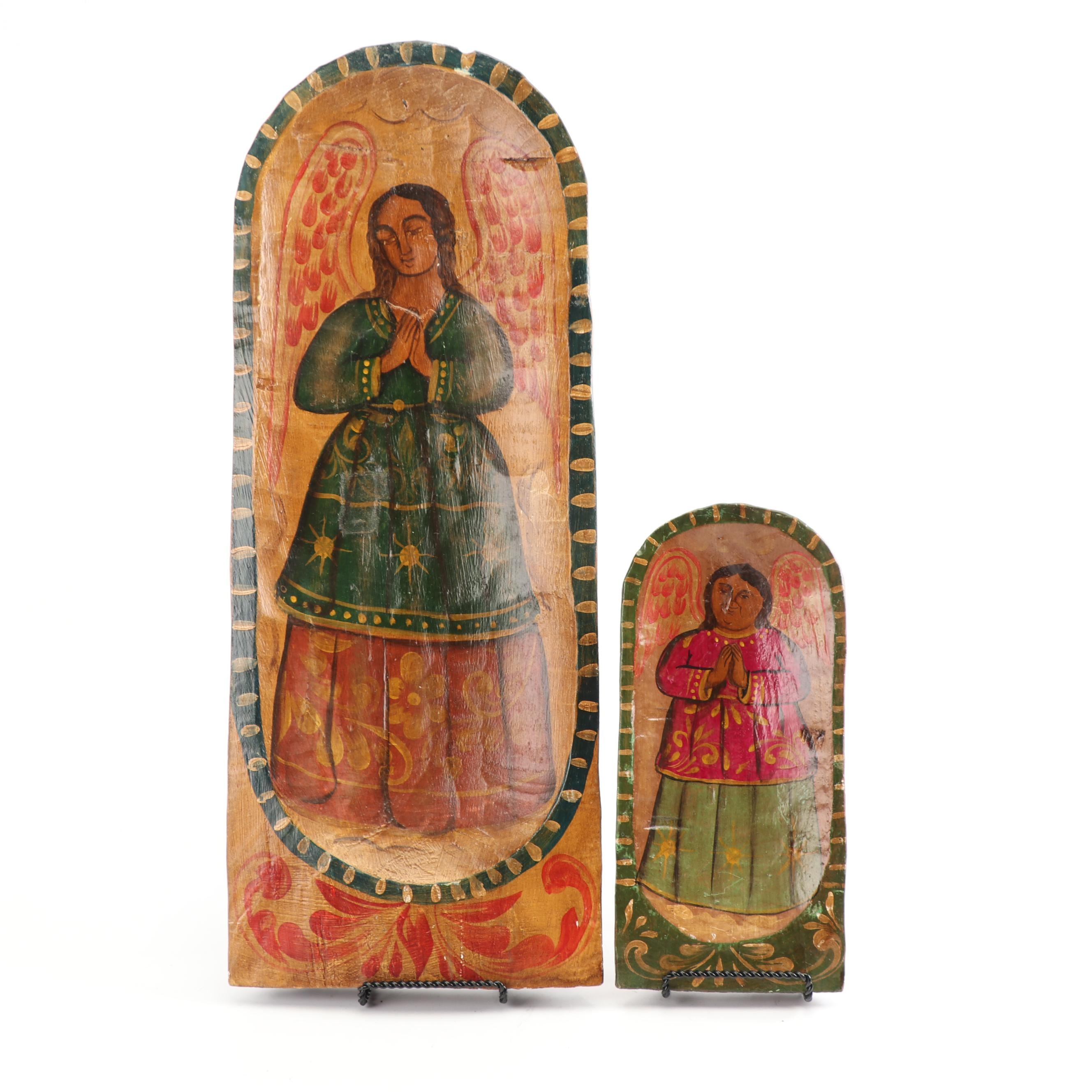 Pair of Mexican Style Folk Art Painted Panels