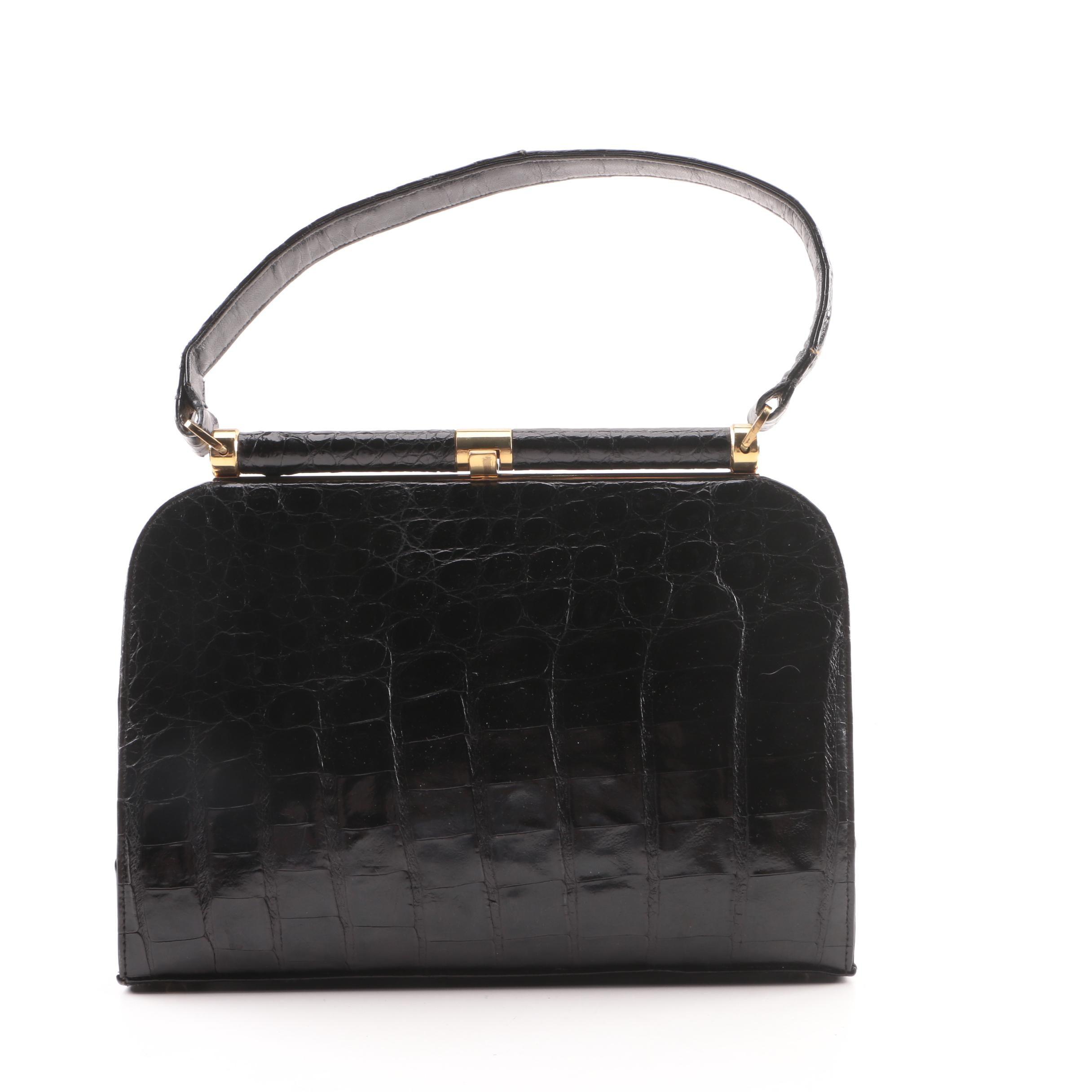 Vintage Saks Fifth Avenue Black Alligator Frame Top Handle Bag