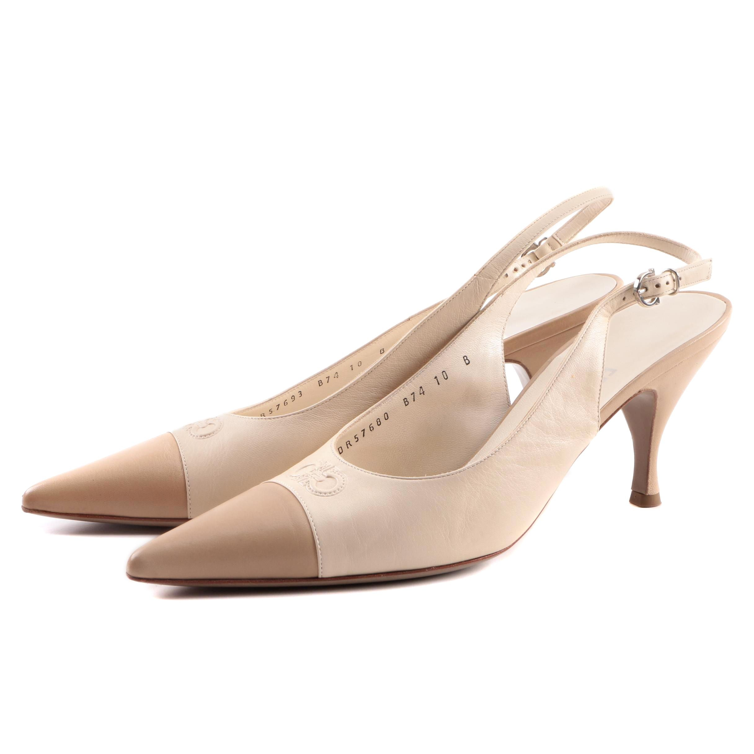 Salvatore Ferragamo Carisa Kid Leather Slingback Pumps, Made in Italy