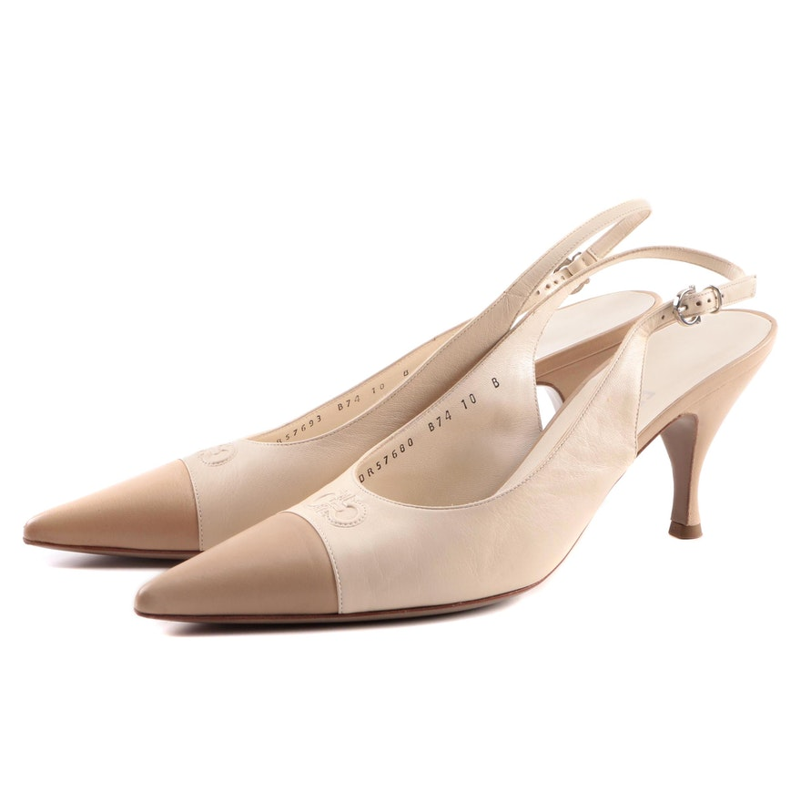 1ba15a6224 Salvatore Ferragamo Carisa Kid Leather Slingback Pumps, Made in Italy ...