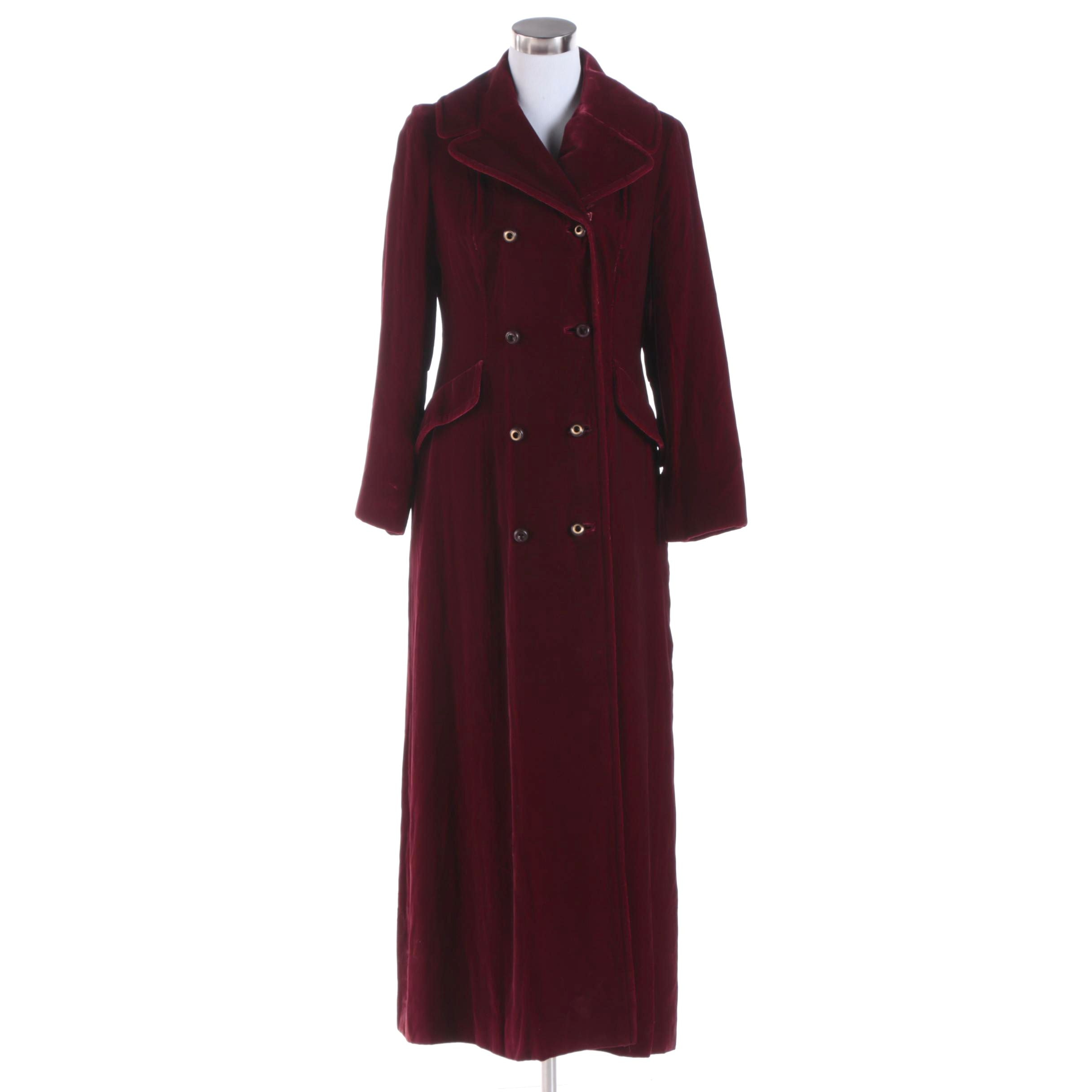 Women's Vintage Jacobson's Full-Length Maroon Velvet Coat