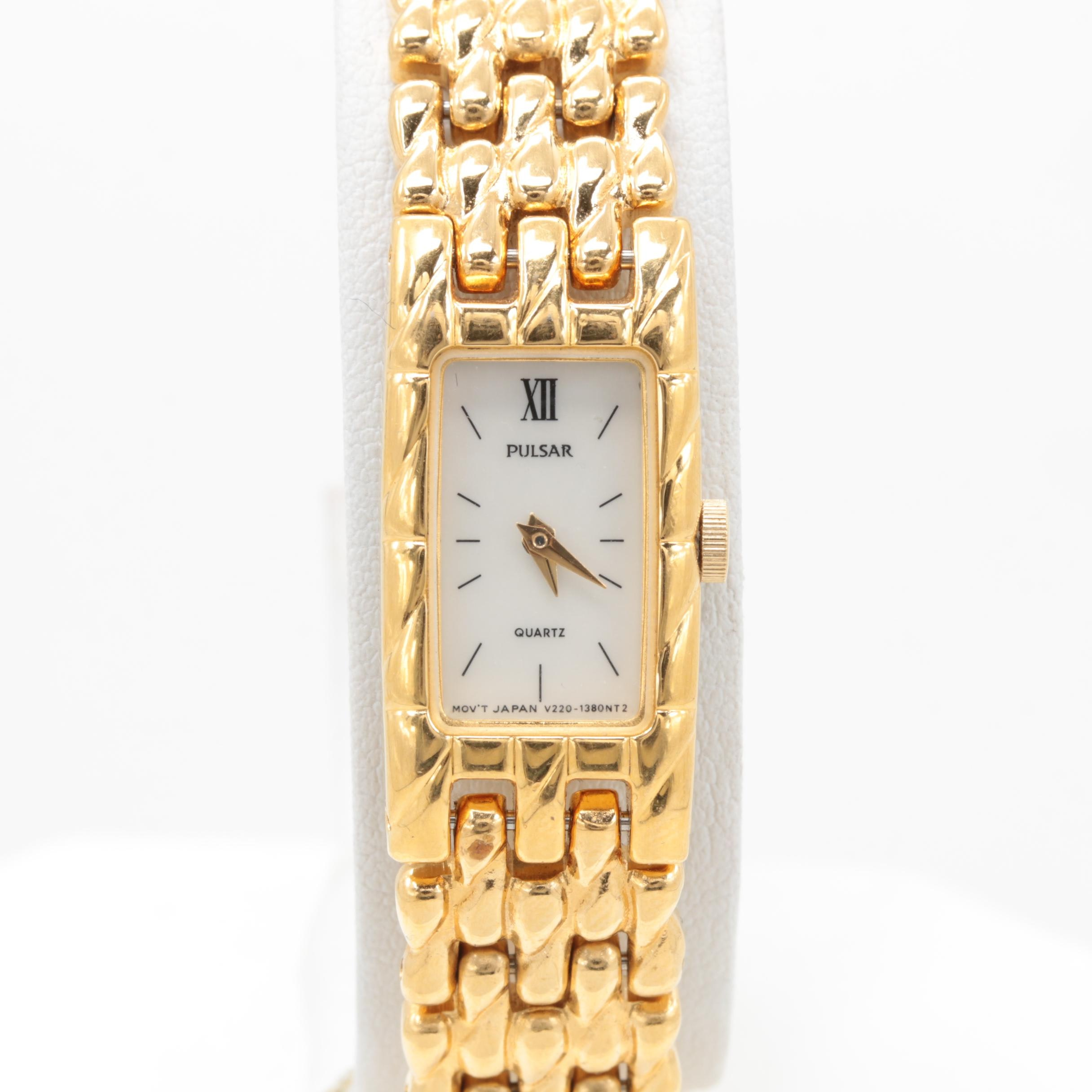 Pulsar Gold Tone Mother of Pearl Wristwatch