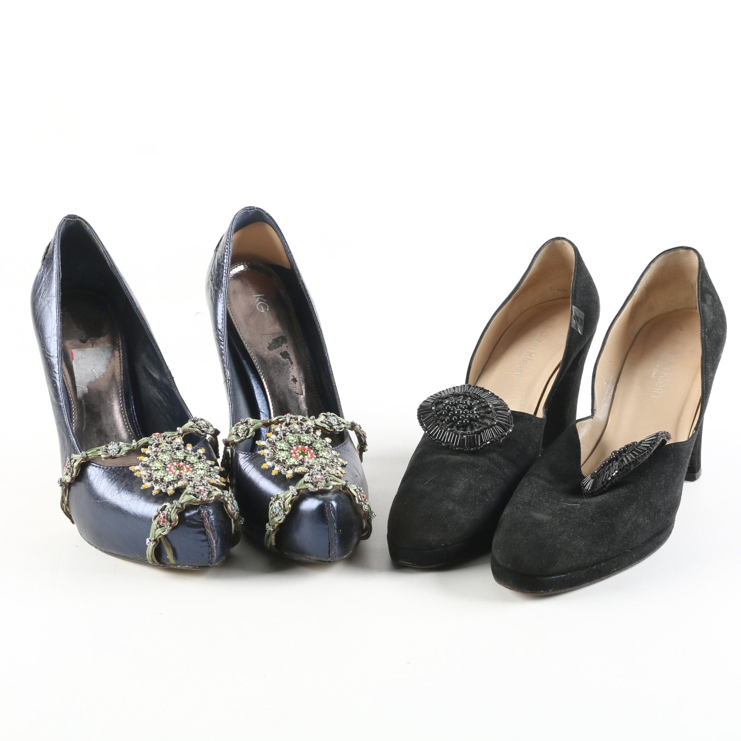Calvin Klein and KG Embellished High-Heeled Shoes