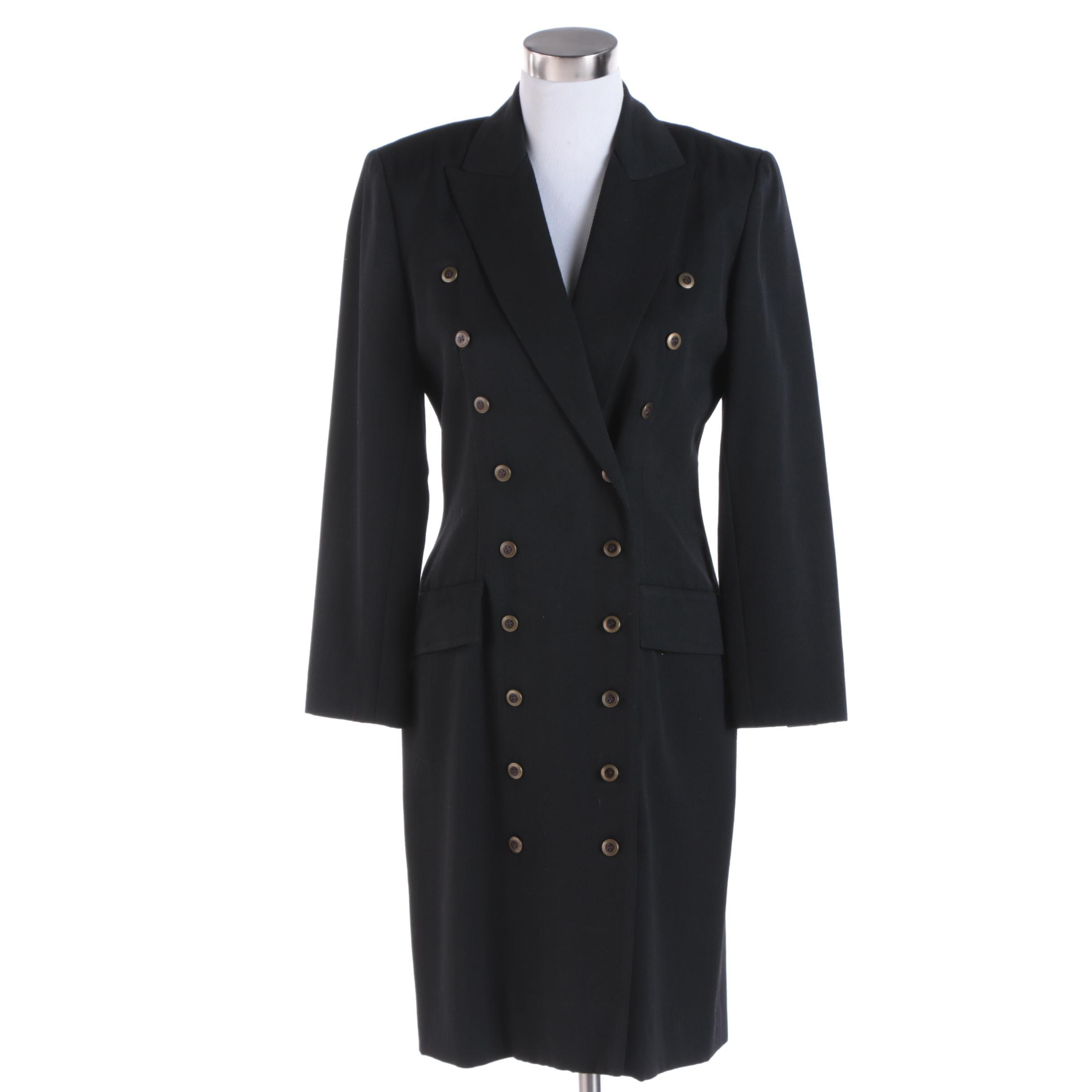 Women's Nipon Boutique Black Wool Double-Breasted Dress Coat