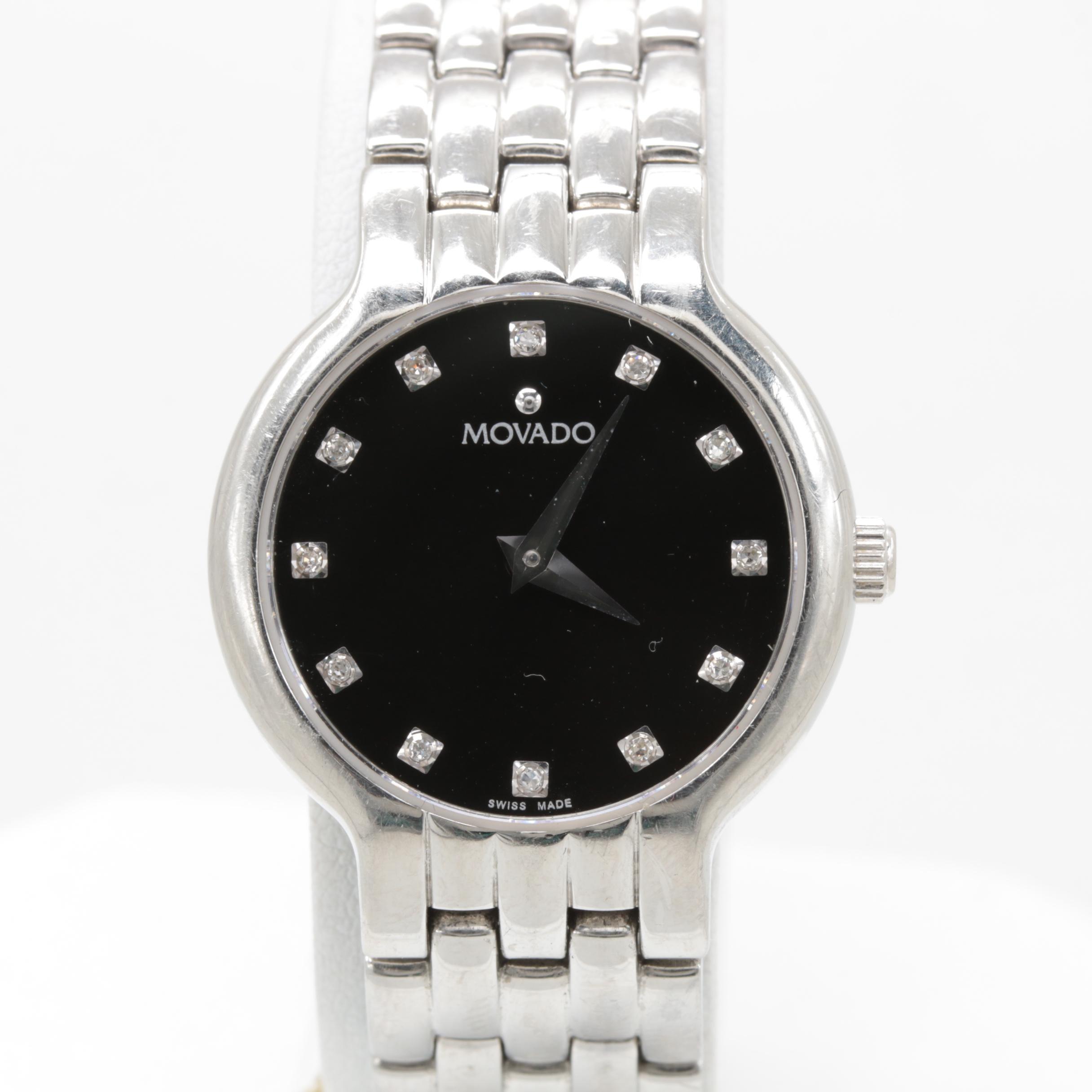 Movado Stainless Steel Diamond Wristwatch