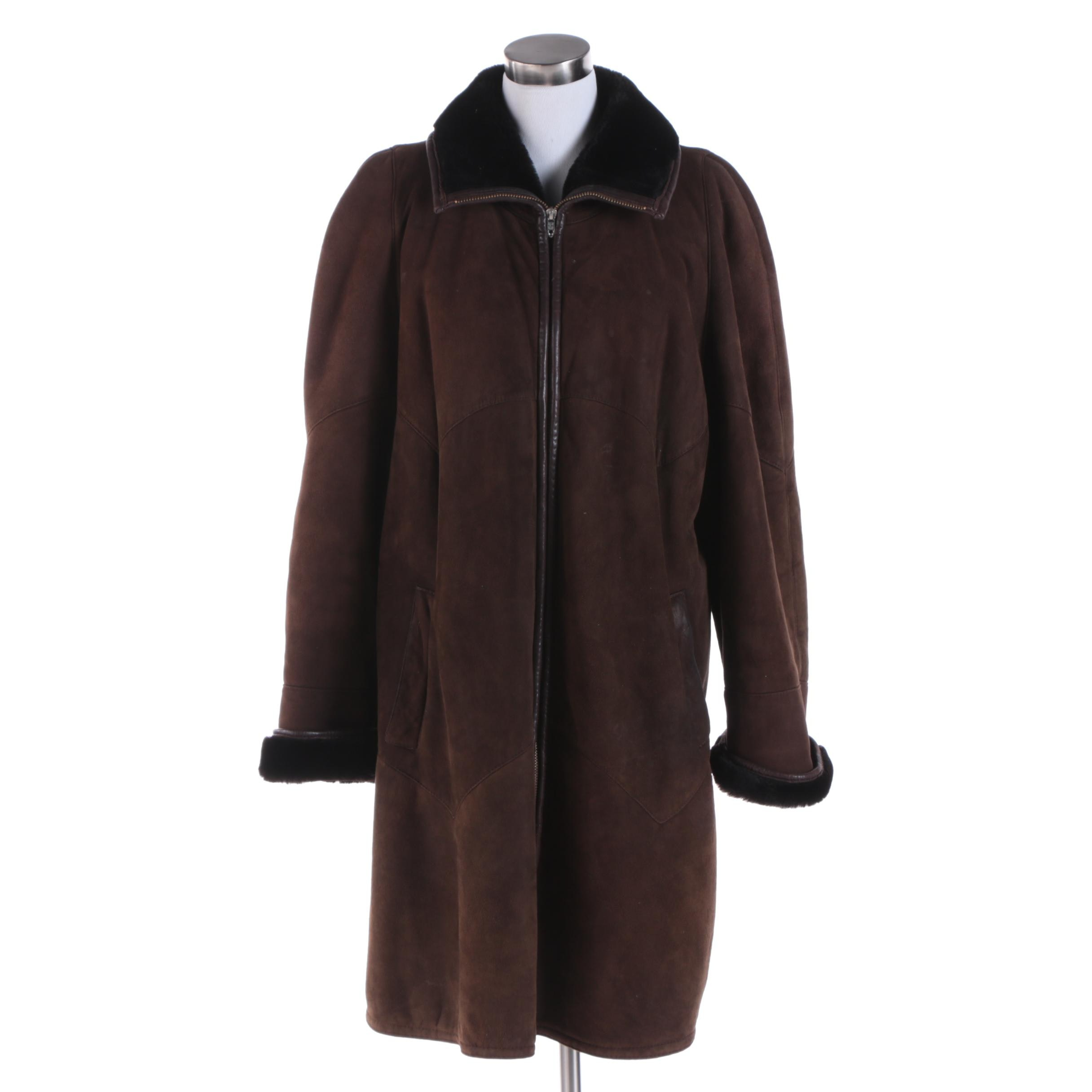 Vintage Shearlings by Delino Sheepskin Brown Suede Coat with Shearling Lining