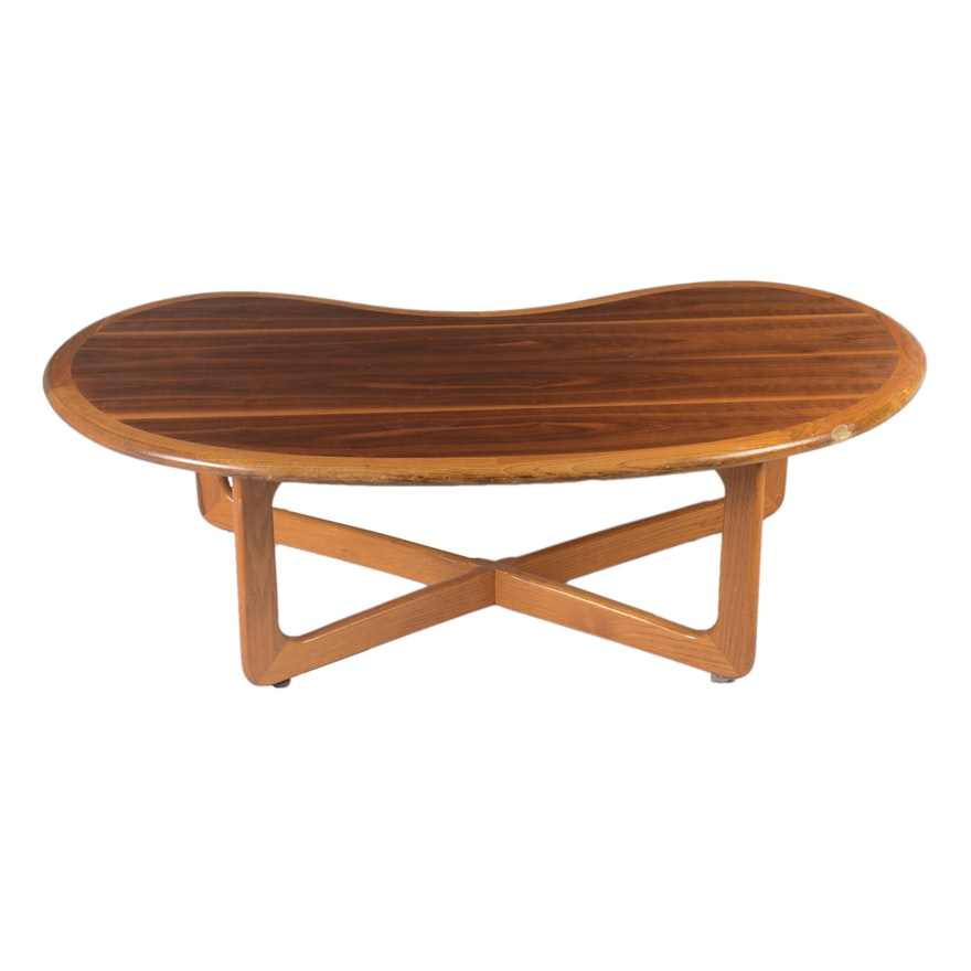 Mid Century Modern Kidney Shaped Coffee Table By Lane