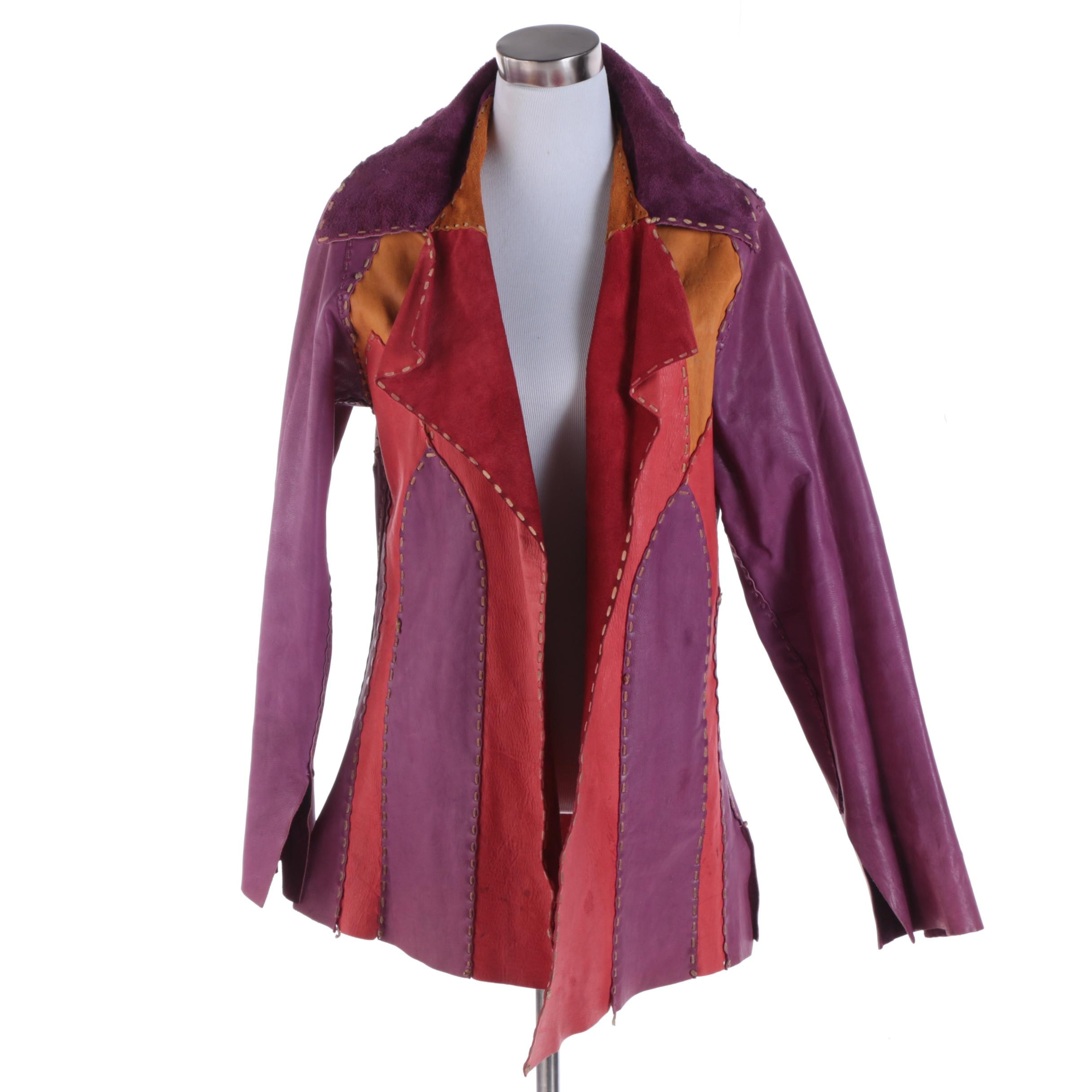 Women's Vintage Color Block Leather and Suede Reversible Jacket