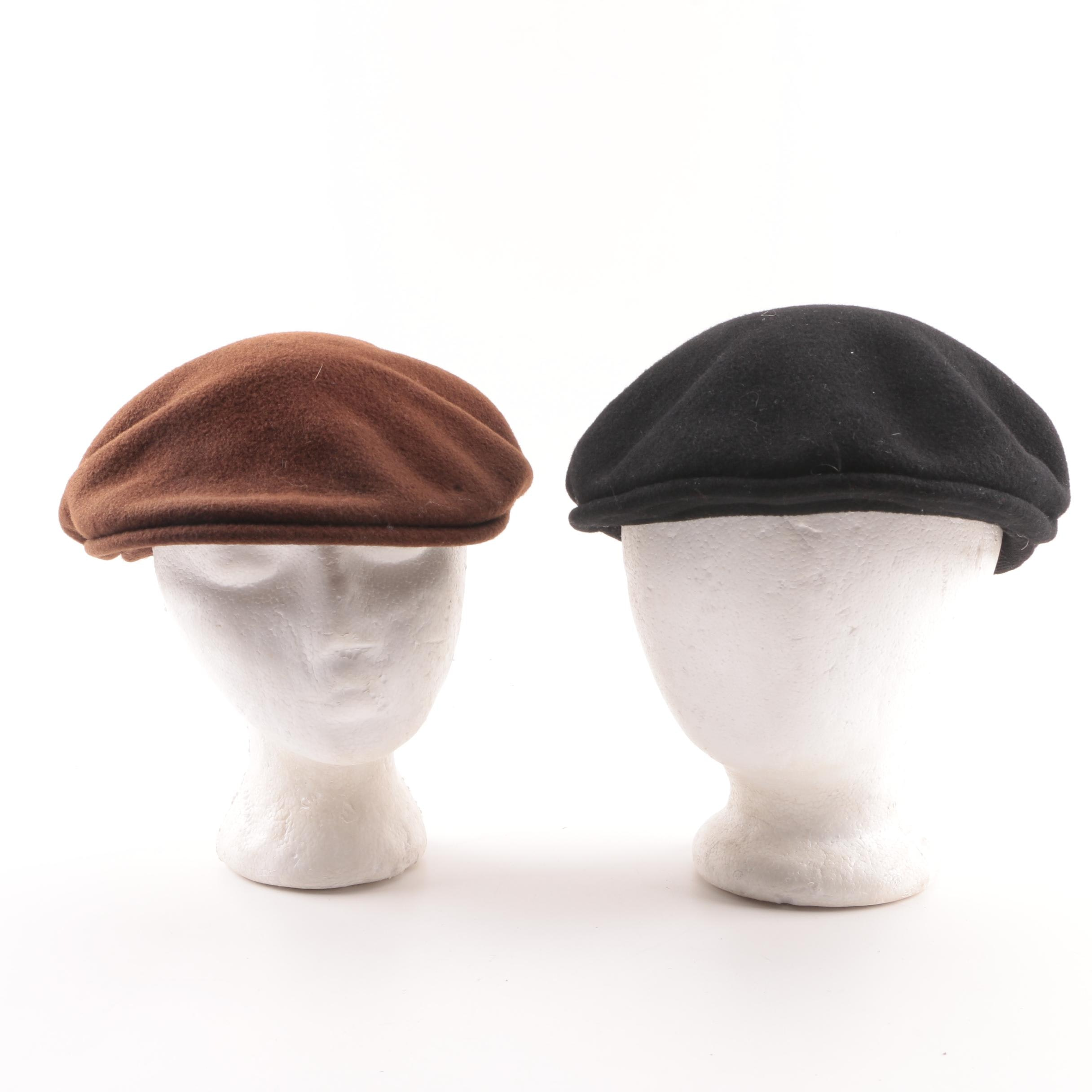 Men's Vintage Kangol Brown and Black Felted Wool Flat Caps