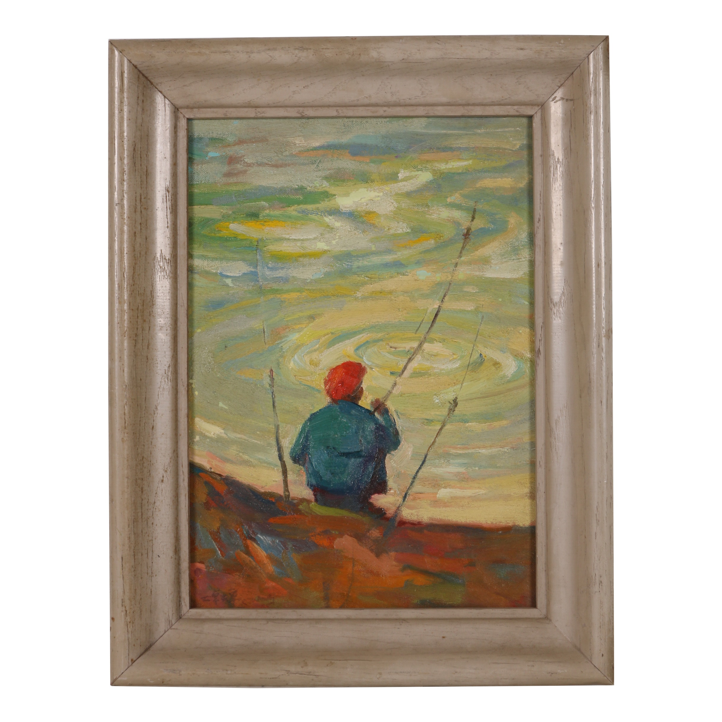 "Chuck F. Wong Oil Painting ""Fisherman"""