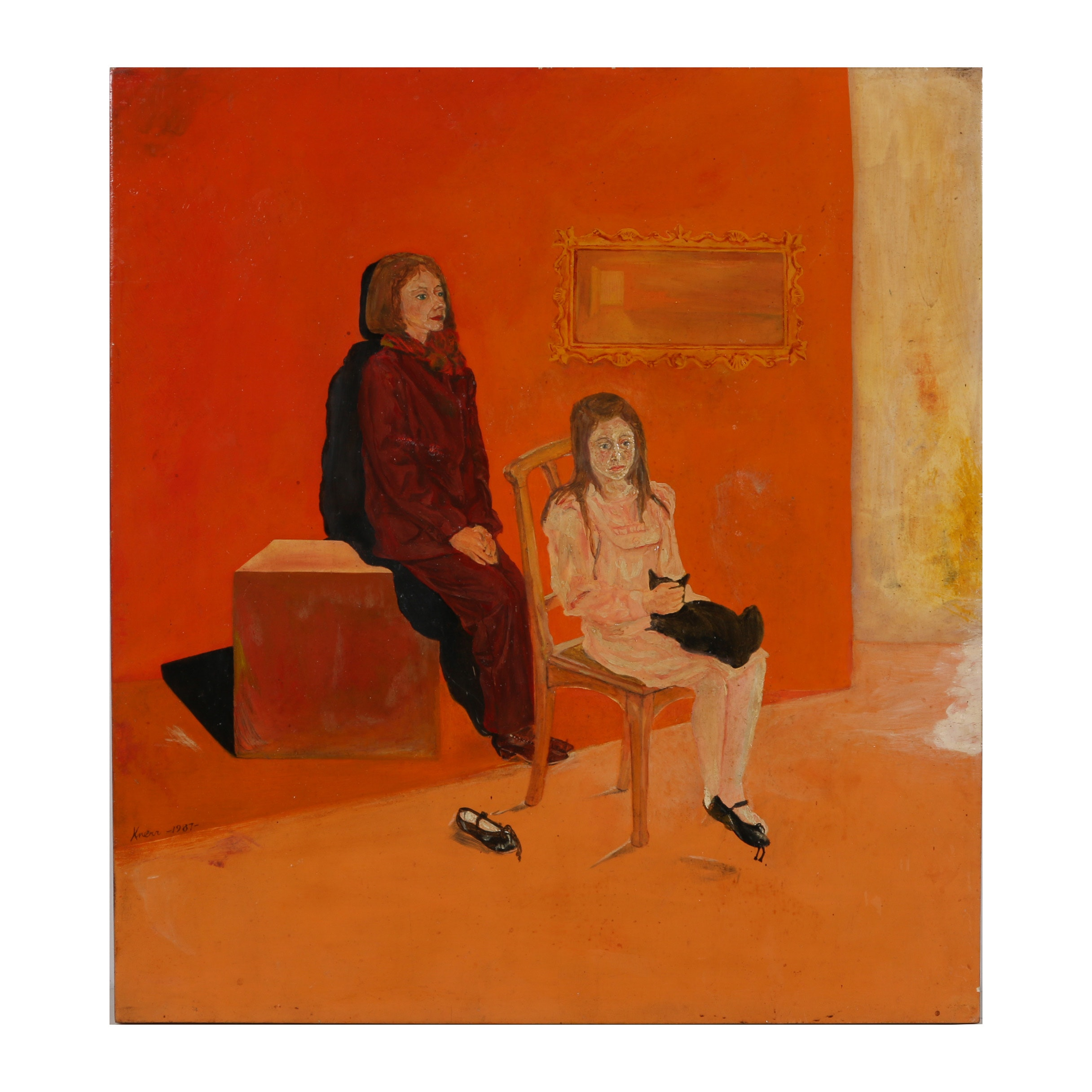 "Knerr Oil Painting ""Mrss. Duskin and Her Daughter Christein"""