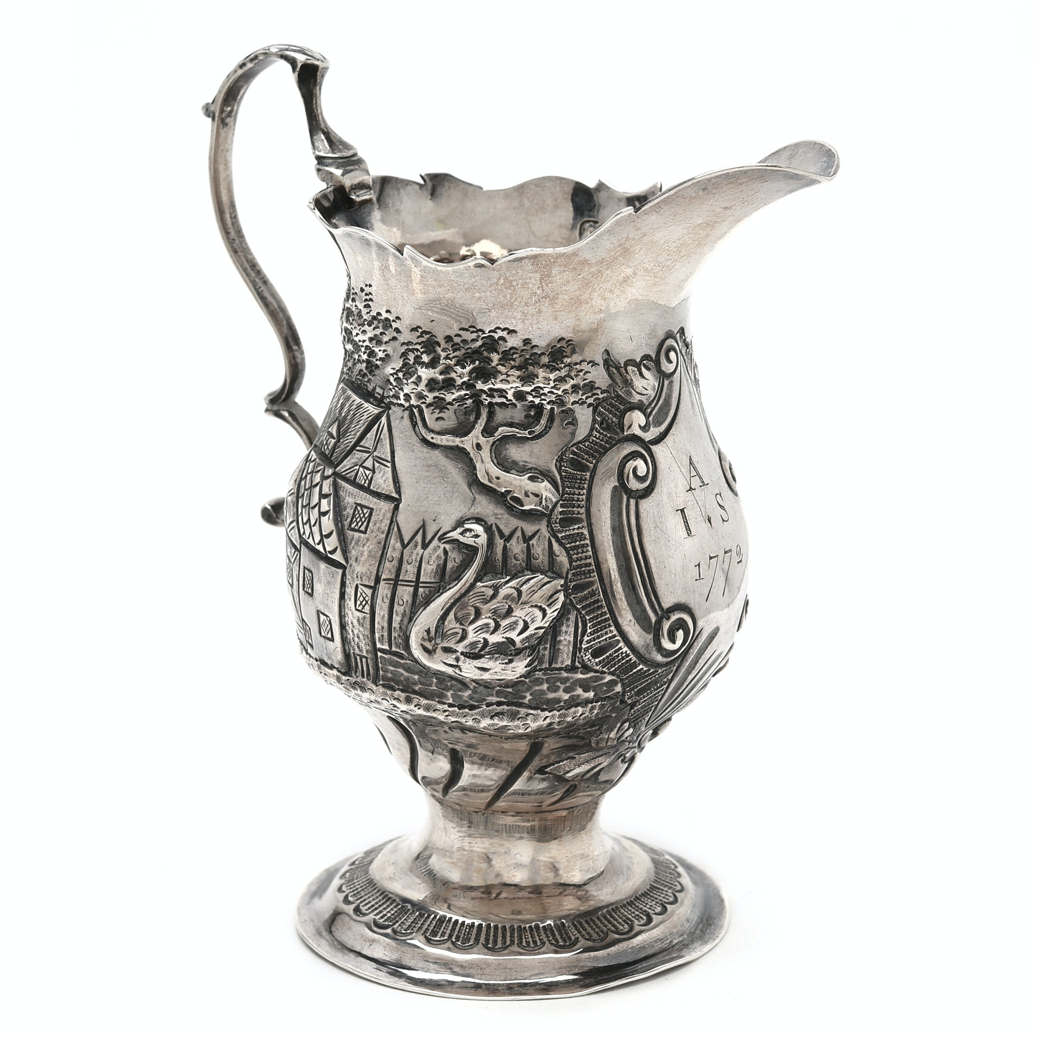 George III Sterling Silver Cream Jug by Nathaniel Appleton and Ann Smith, 1772