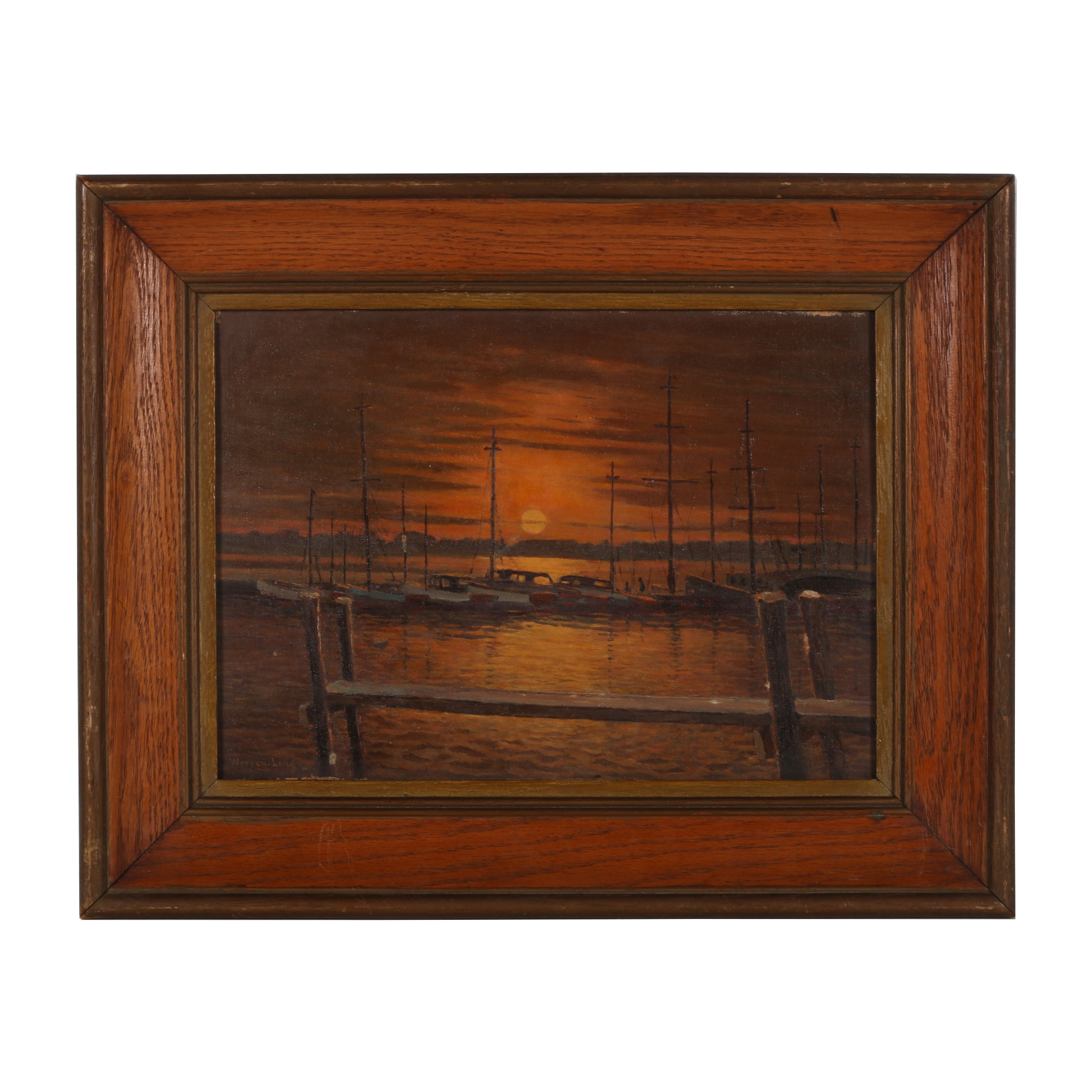"Warren W. Long Oil Painting ""Yacht Club Basin"""