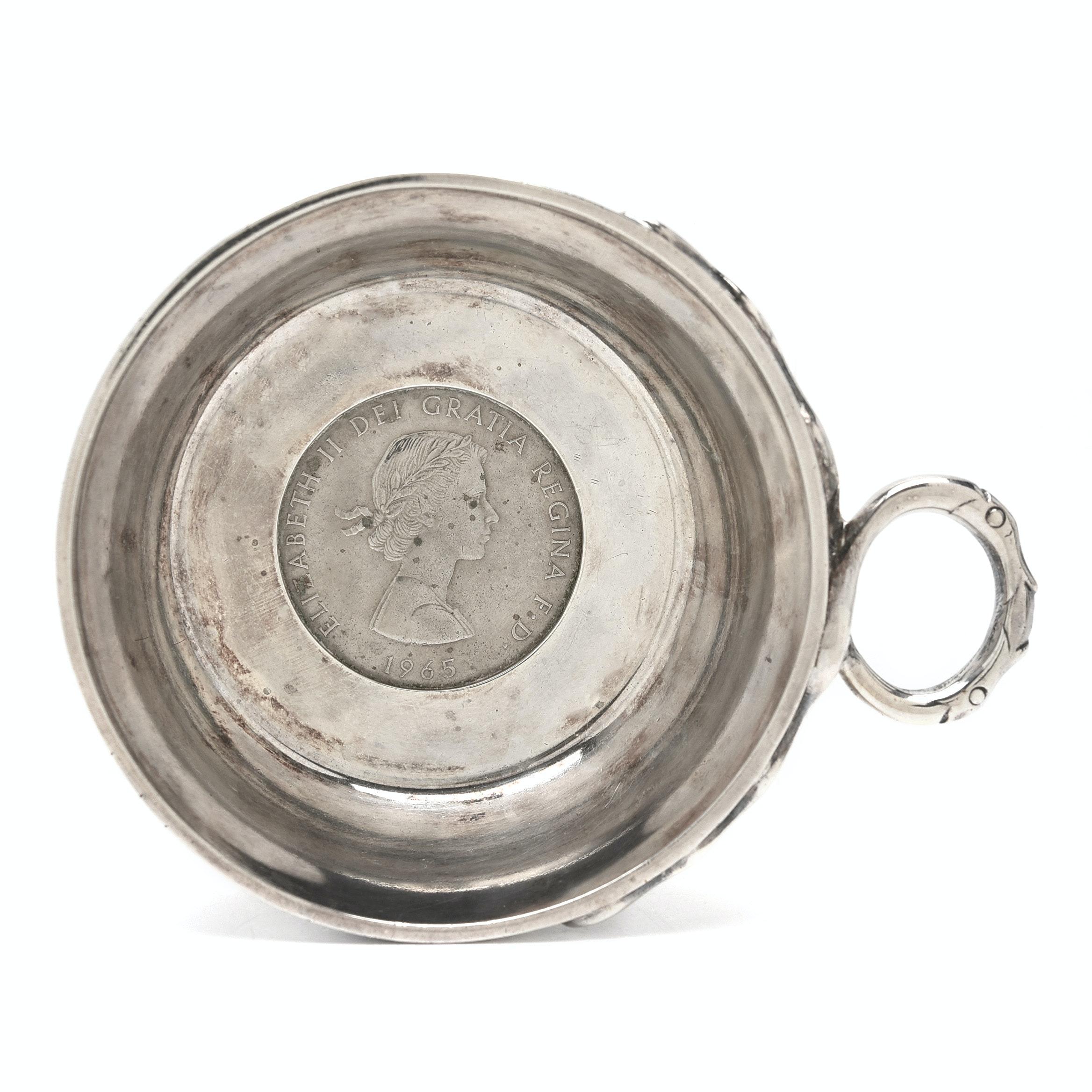 """Elizabeth II Sterling Silver Tastevin With United Kingdom """"Churchill"""" 1 Crown"""