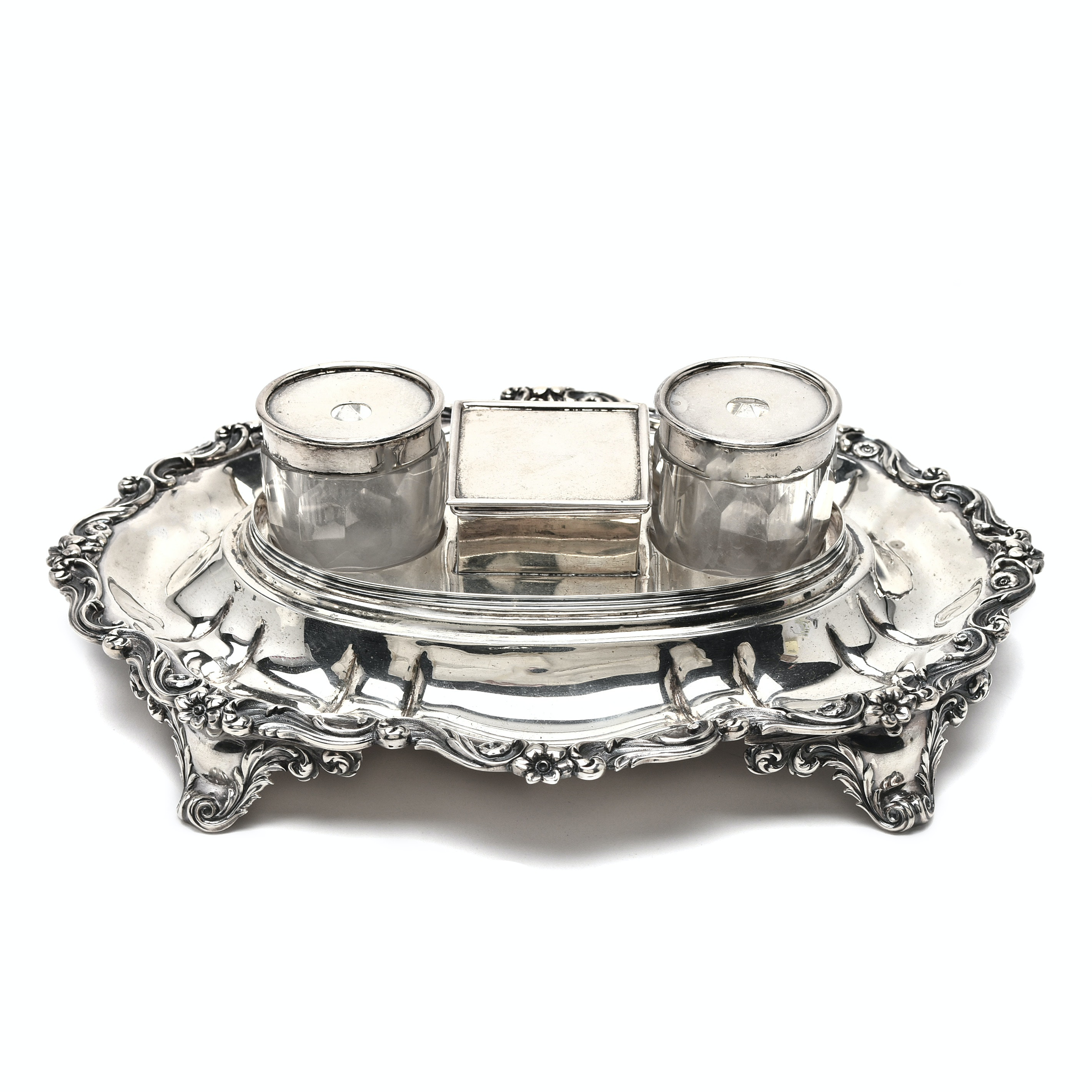 William IV Sterling Silver Ink Stand by James Charles Edington, London 1837