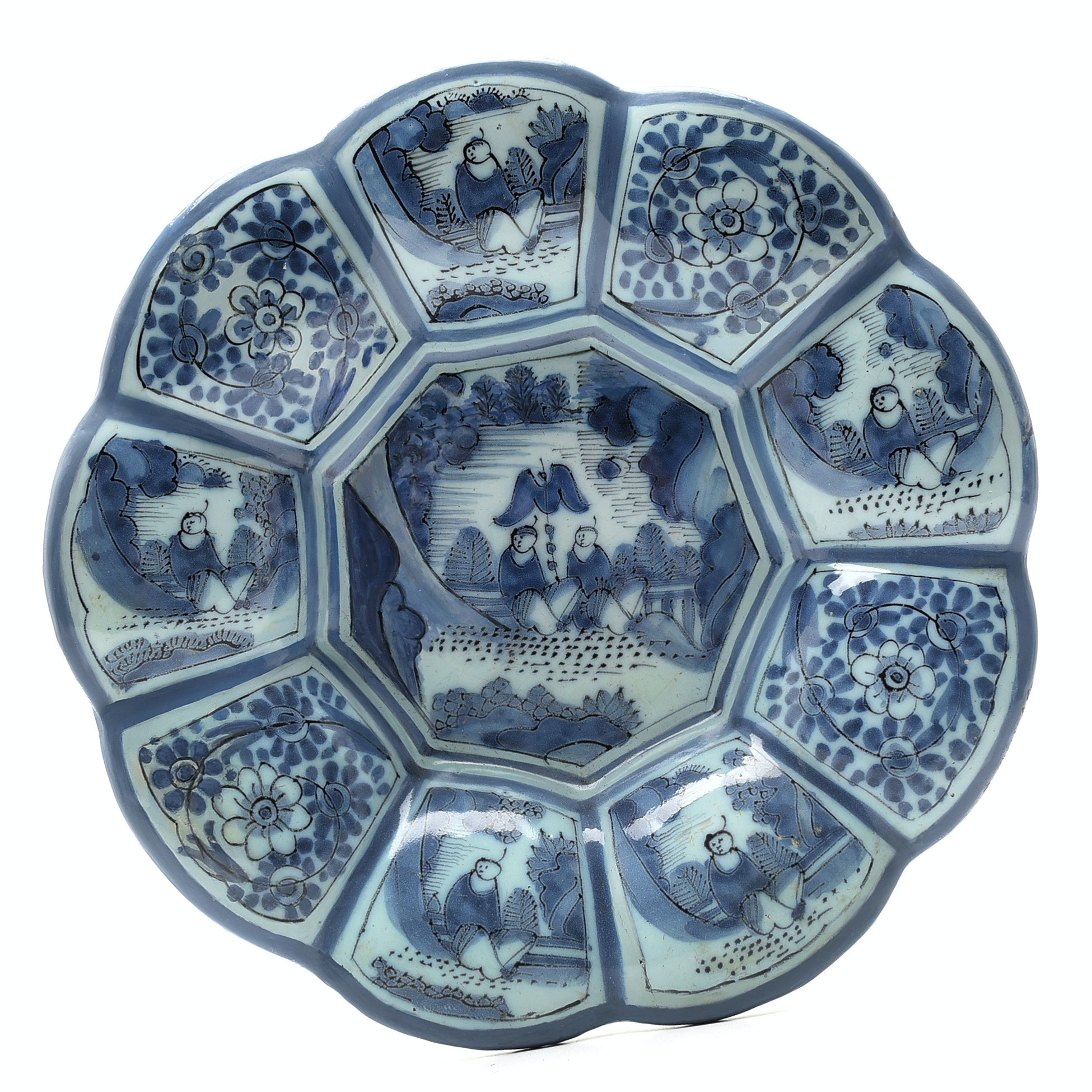 Dutch 18th Century Delft  Blue and White Pottery Lobed Plate